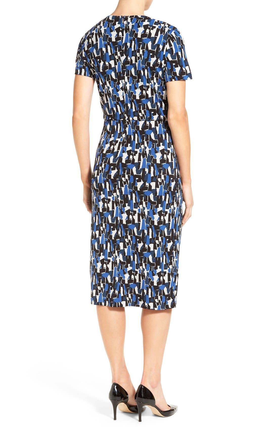 'Enedita' Mosaic Print Faux Wrap Jersey Dress,                             Alternate thumbnail 3, color,                             477