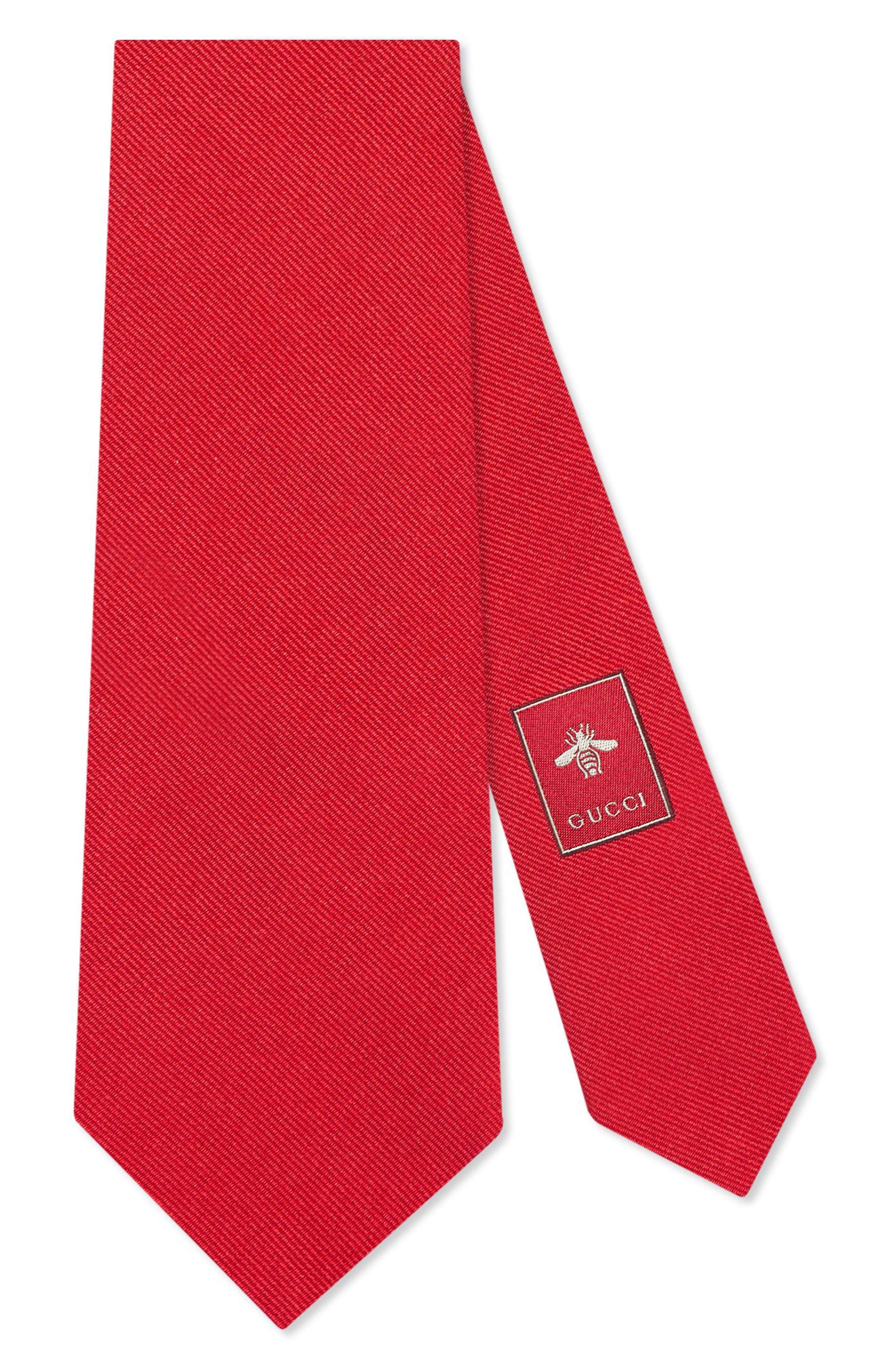 Tiger Embroidered Silk Tie,                         Main,                         color, RED