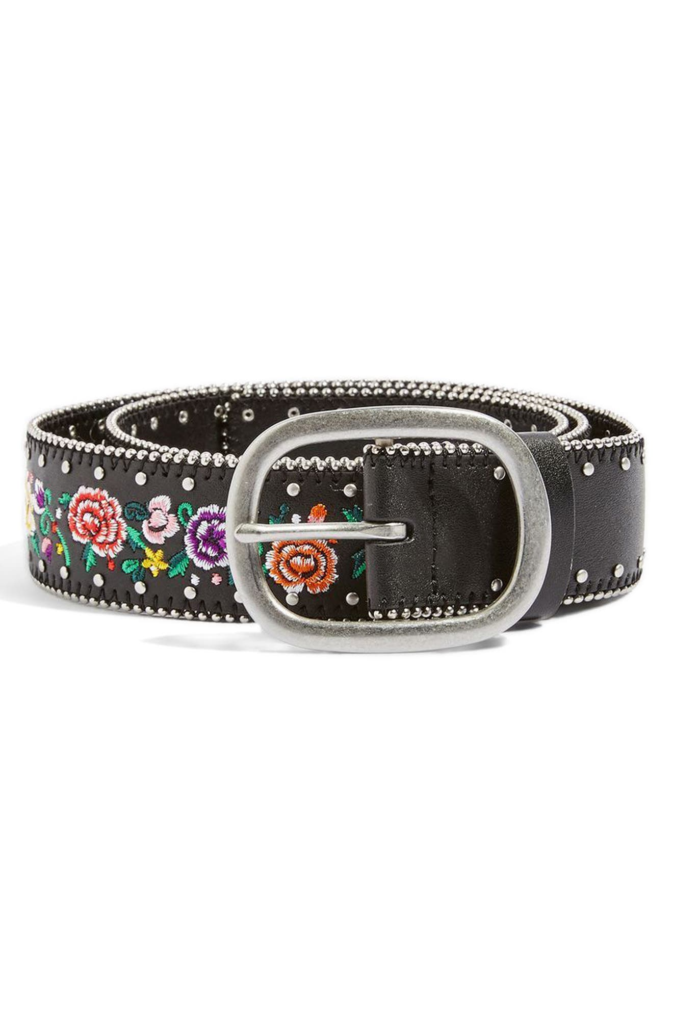 Chain Trim Floral Embroidered Belt,                         Main,                         color, 001