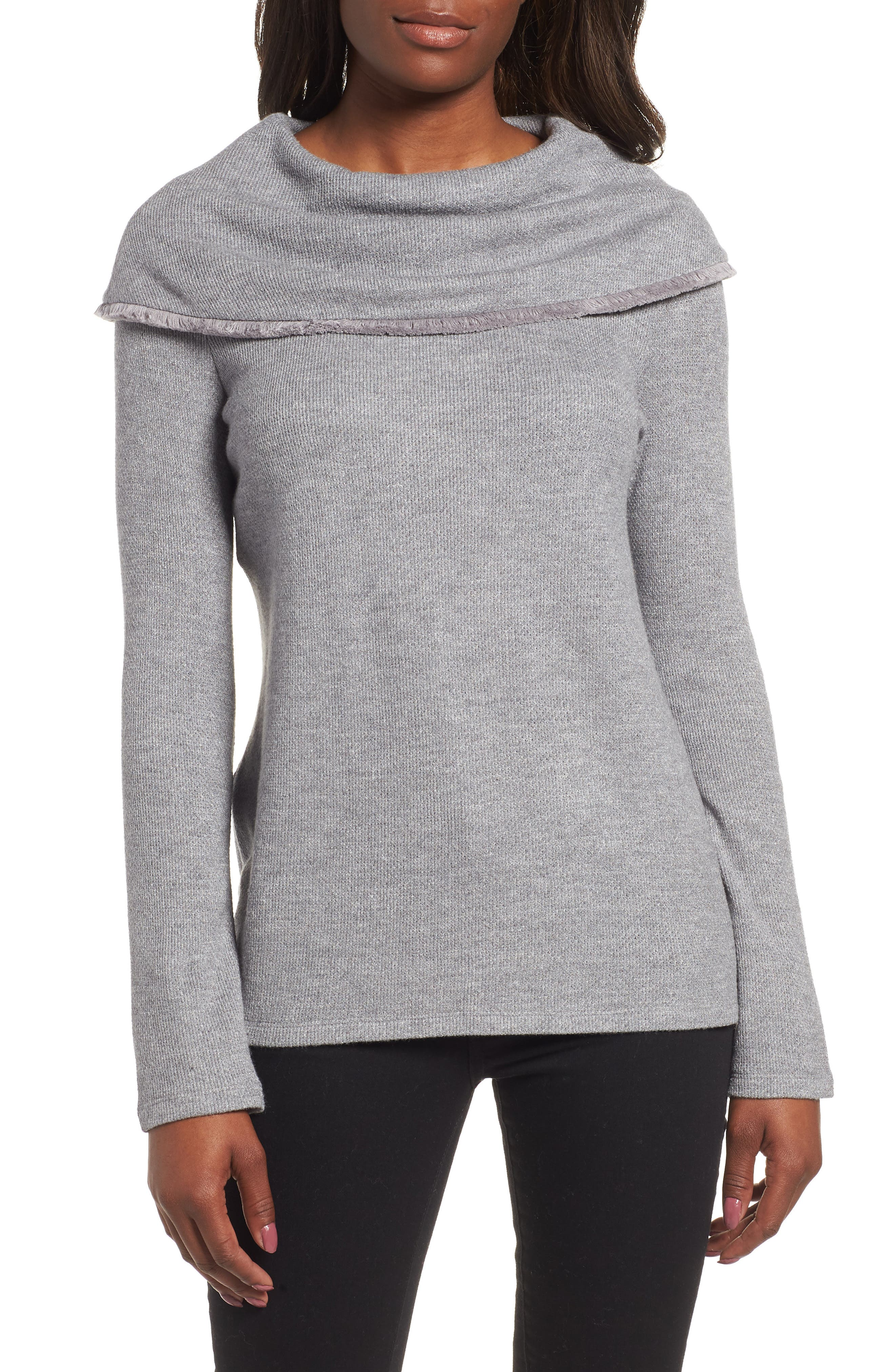 Long Sleeve Cowl Neck Sweater, Main, color, LUXE GREY
