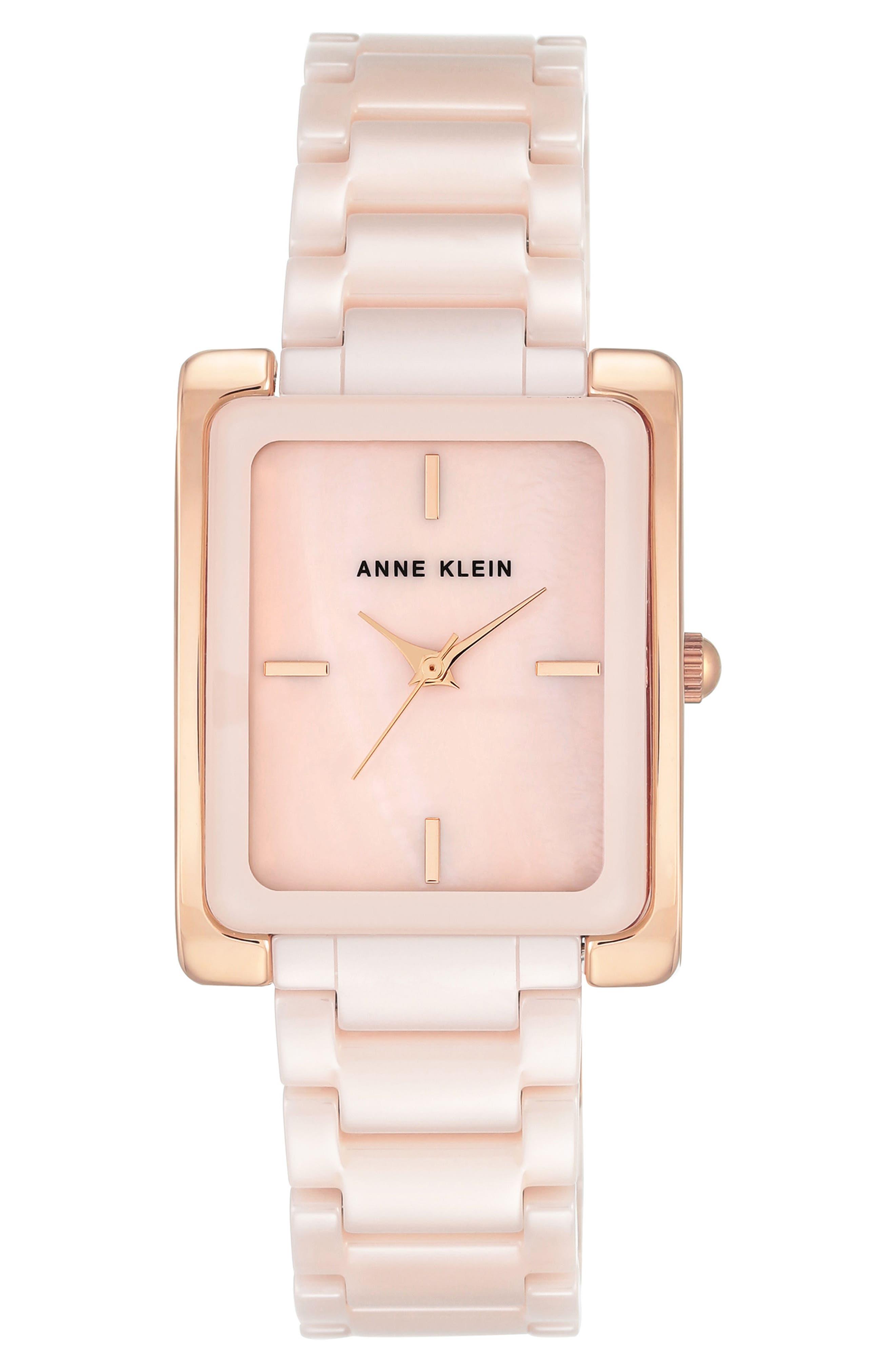 Rectangle Ceramic Bracelet Watch, 28mm x 35mm,                             Main thumbnail 1, color,                             BLUSH/ GOLD