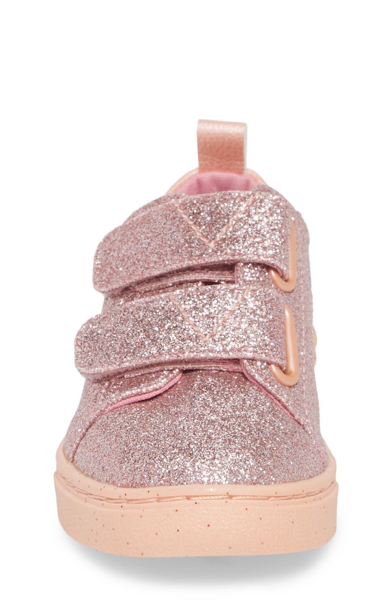 Lenny Metallic Glitter Sneaker,                             Alternate thumbnail 4, color,                             ROSE GOLD GLITTER