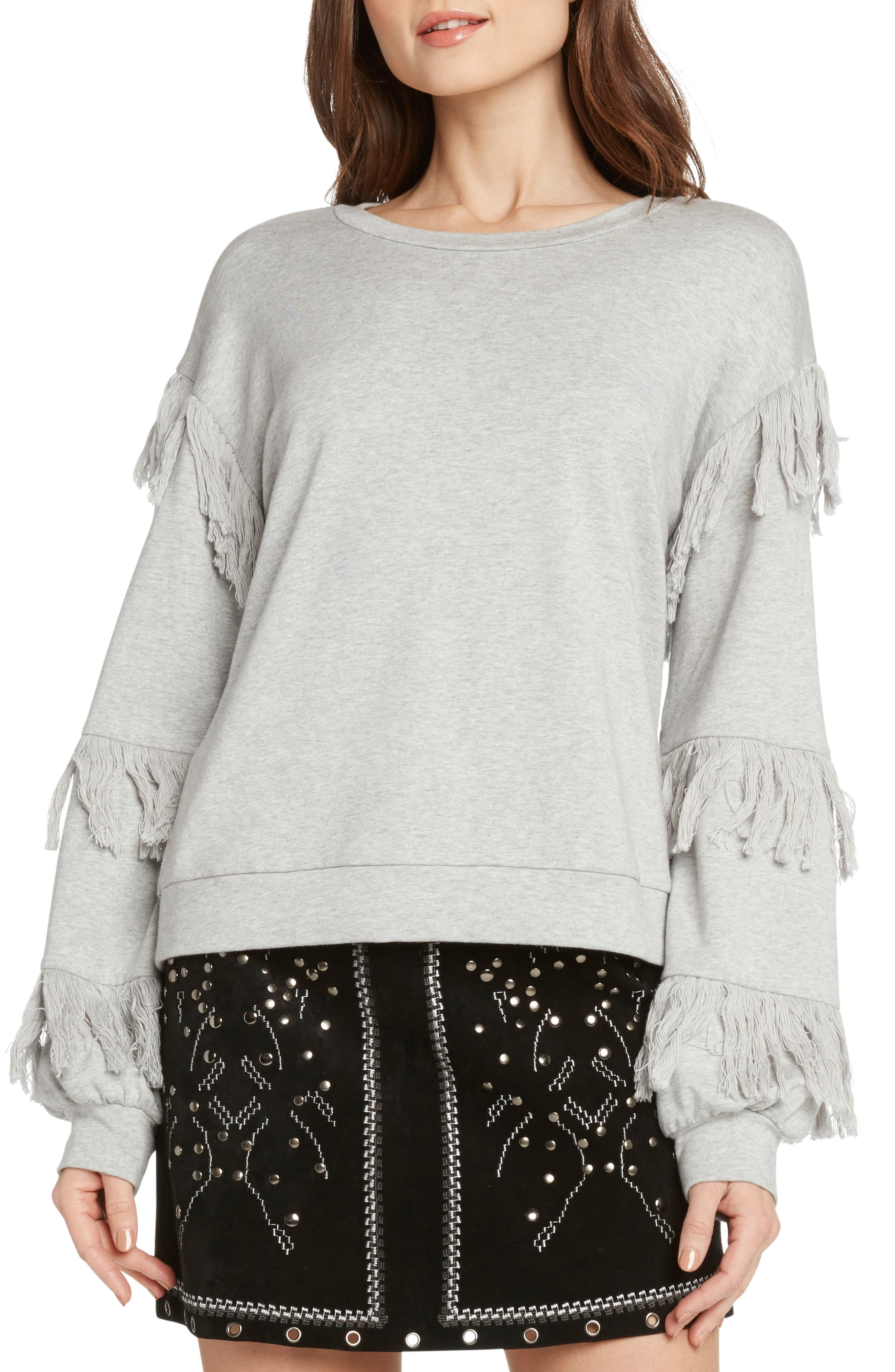 WILLOW & CLAY Fringed French Terry Sweatshirt in Heather Grey