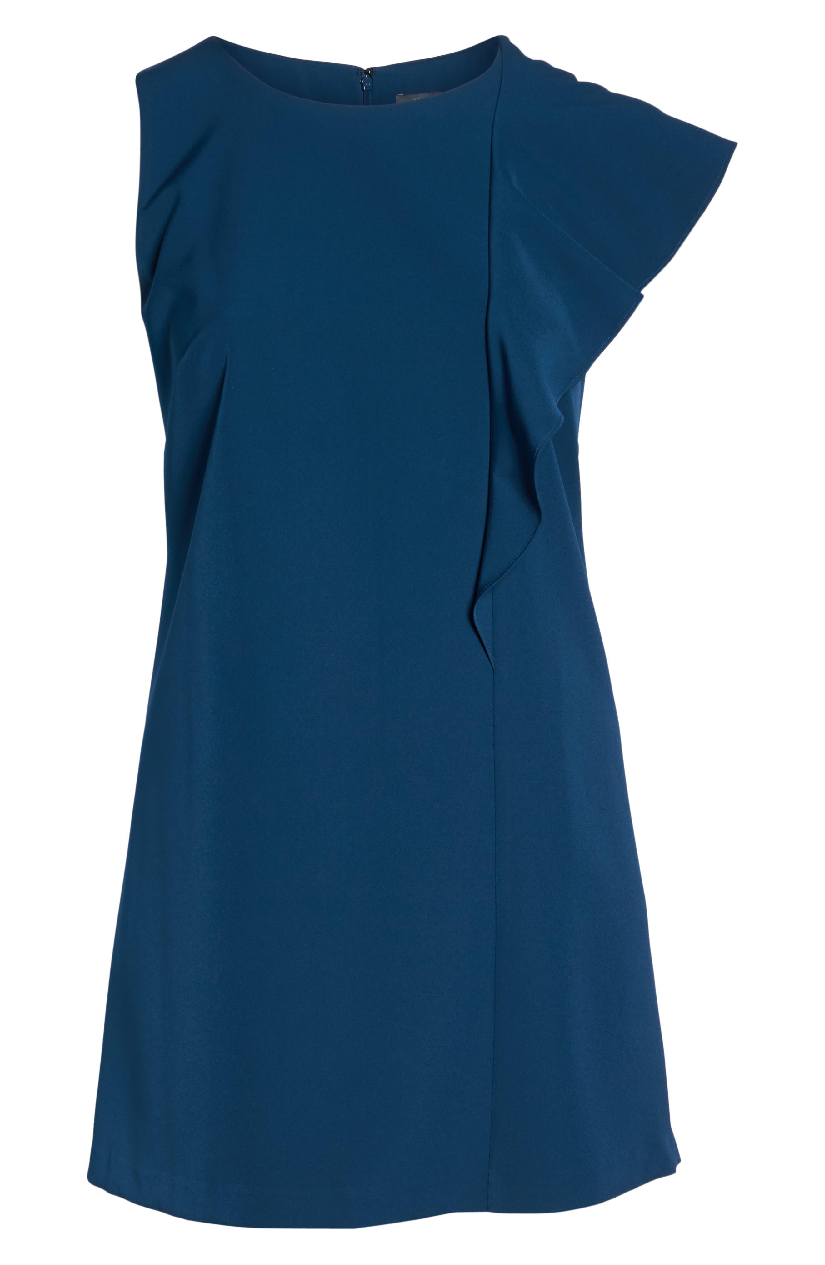 Ruffle Crepe A-Line Dress,                             Alternate thumbnail 7, color,                             400