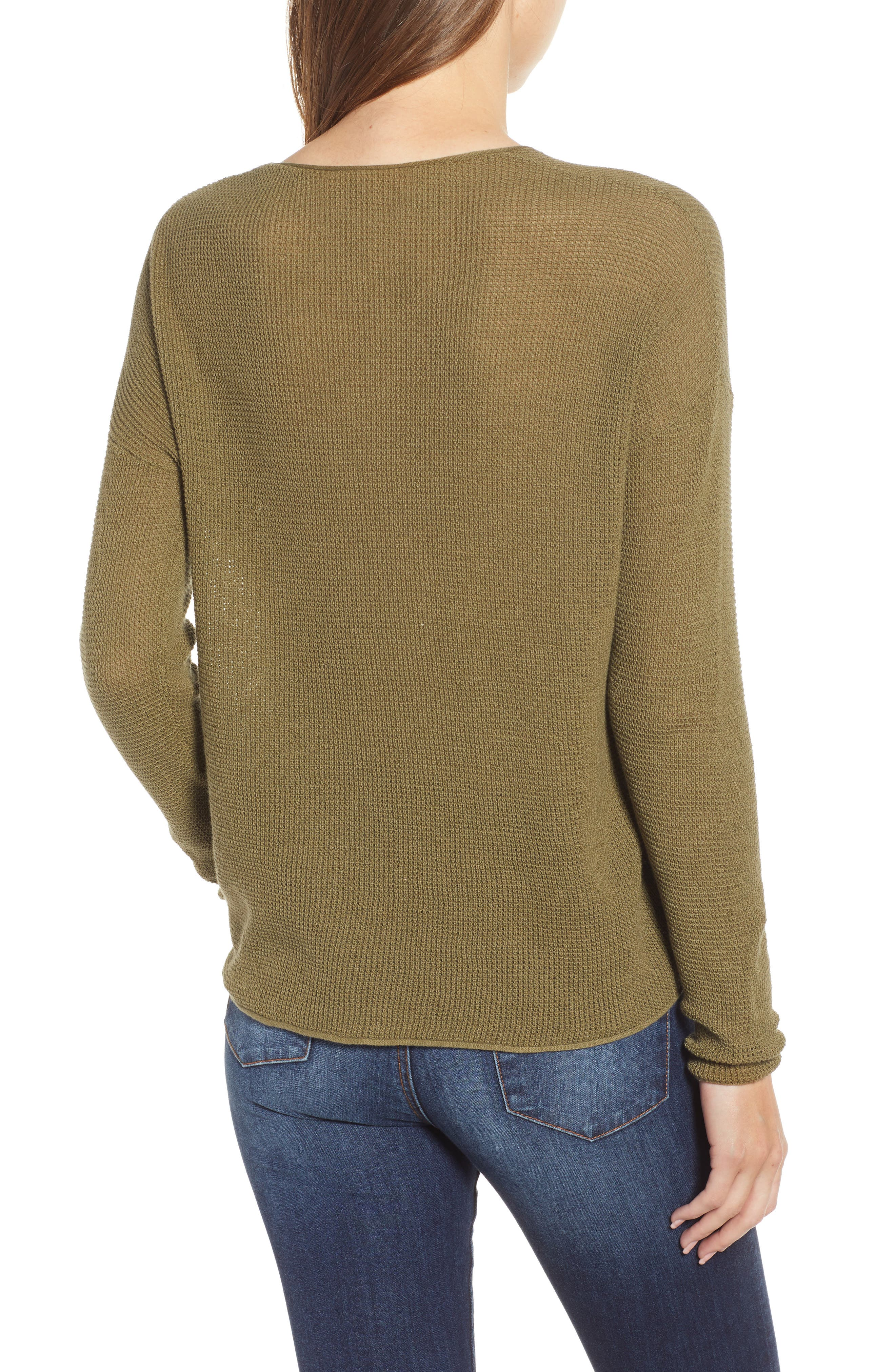 Coastal Thermal Sweater,                             Alternate thumbnail 3, color,                             OLIVE BURNT