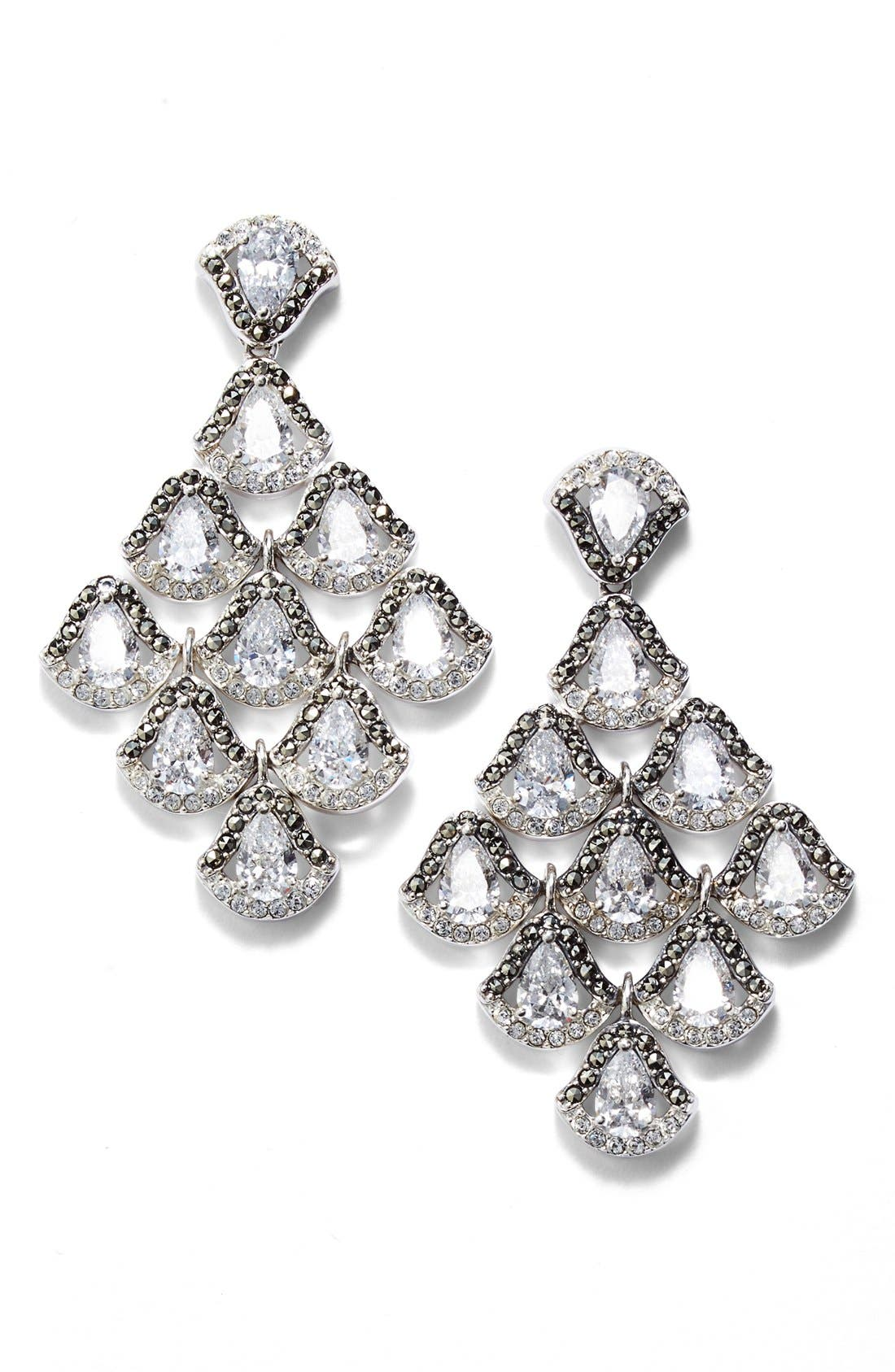 Semiprecious Stone Chandelier Earrings,                         Main,                         color, SILVER