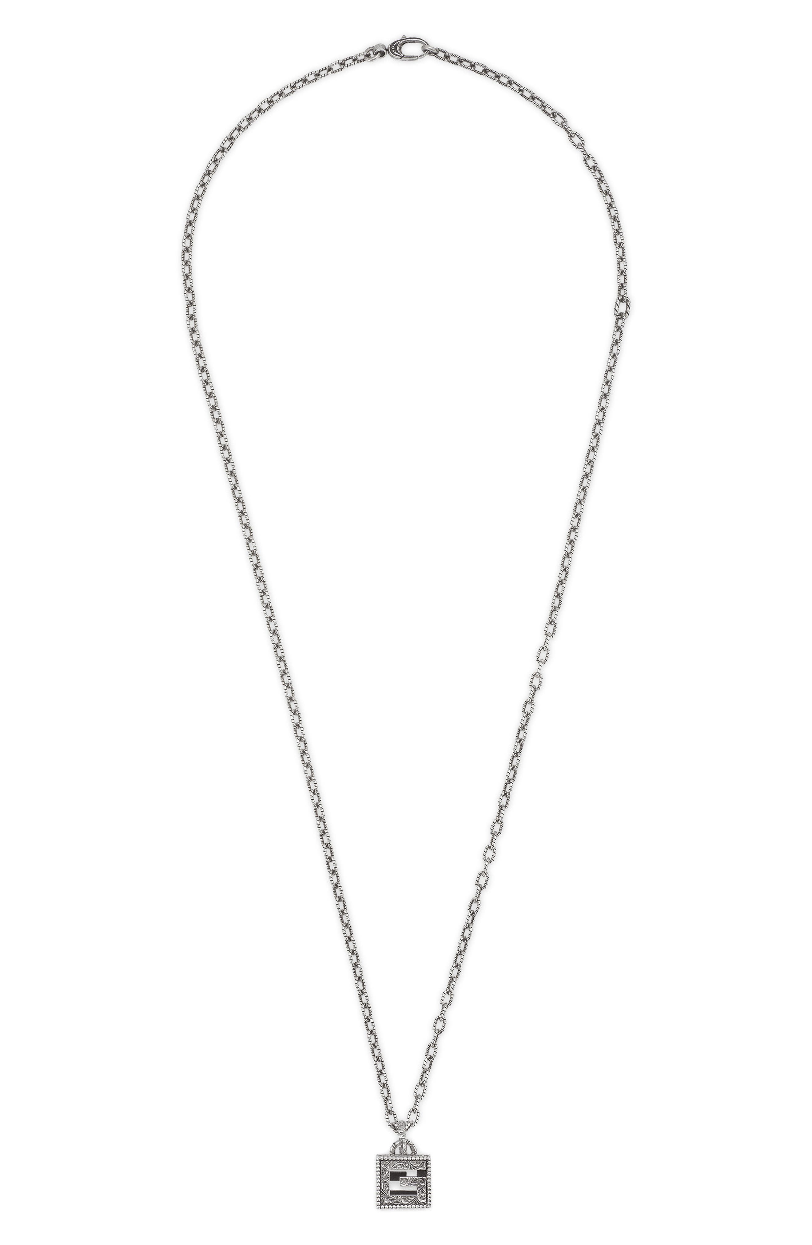 G-Cube Pendant Necklace, Main, color, STERLING SILVER