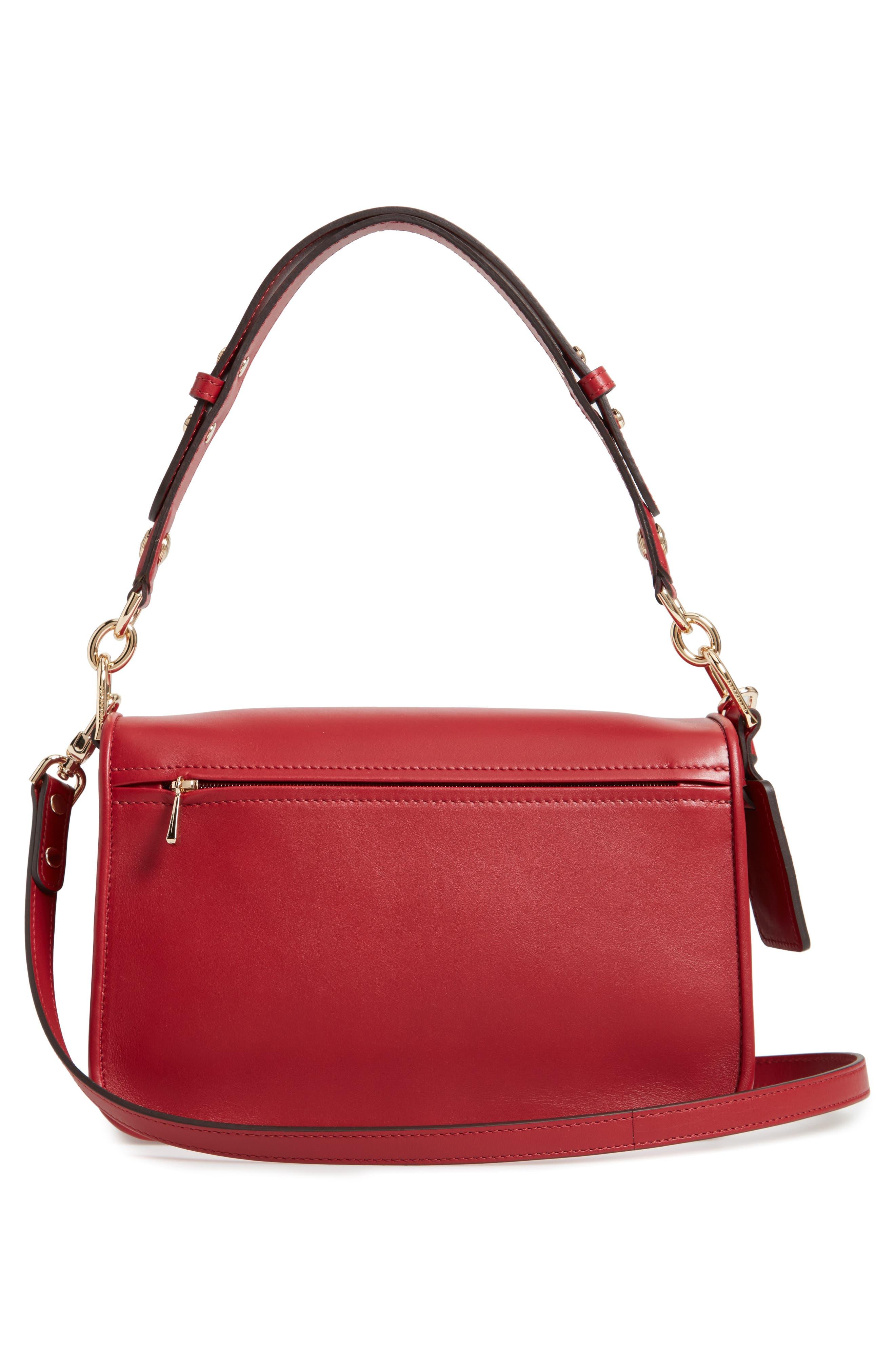 Mademoiselle Calfskin Leather Crossbody Bag,                             Alternate thumbnail 3, color,                             GARNET RED