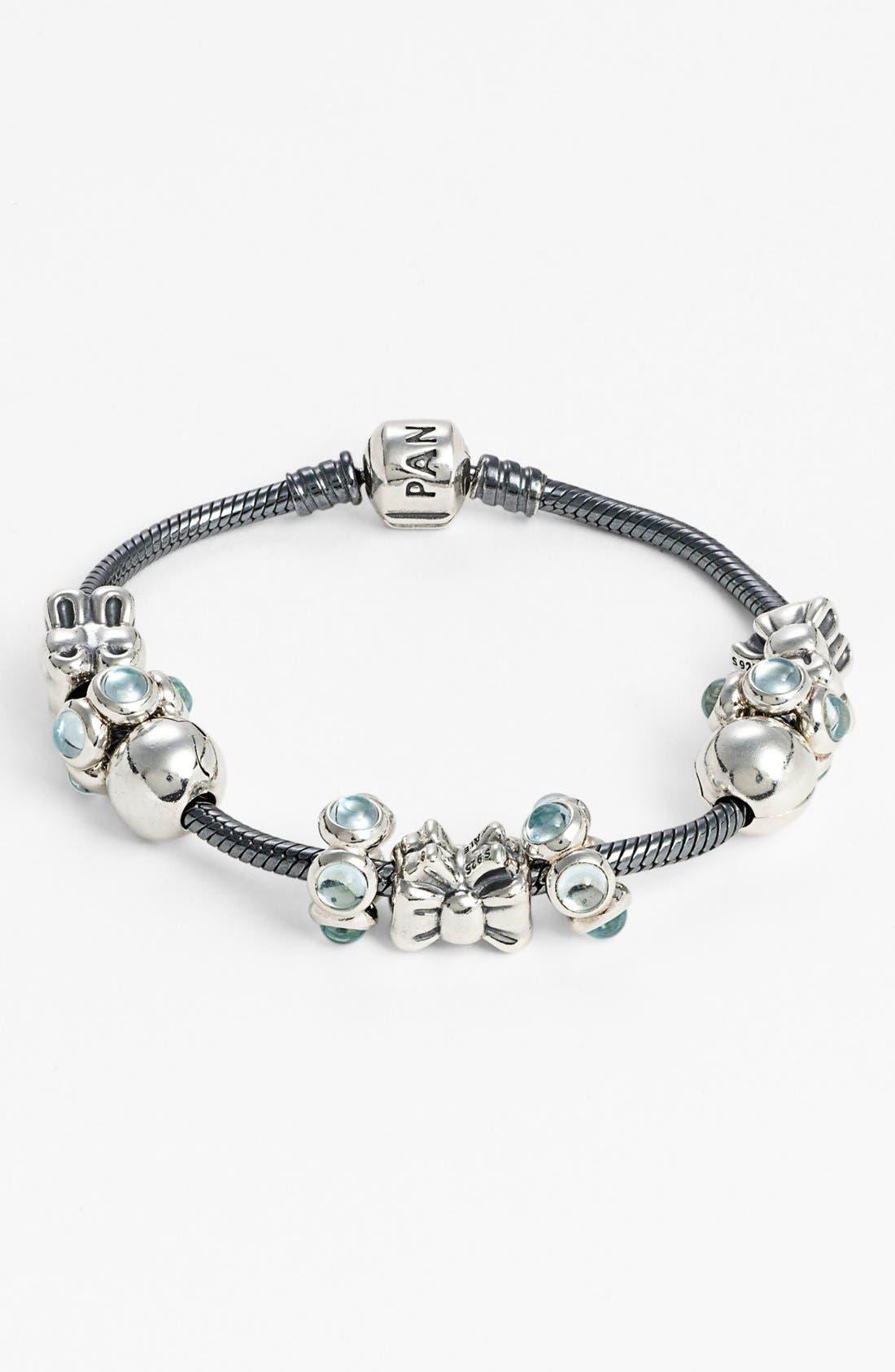 Oxidized Sterling Silver Charm Bracelet,                             Alternate thumbnail 3, color,