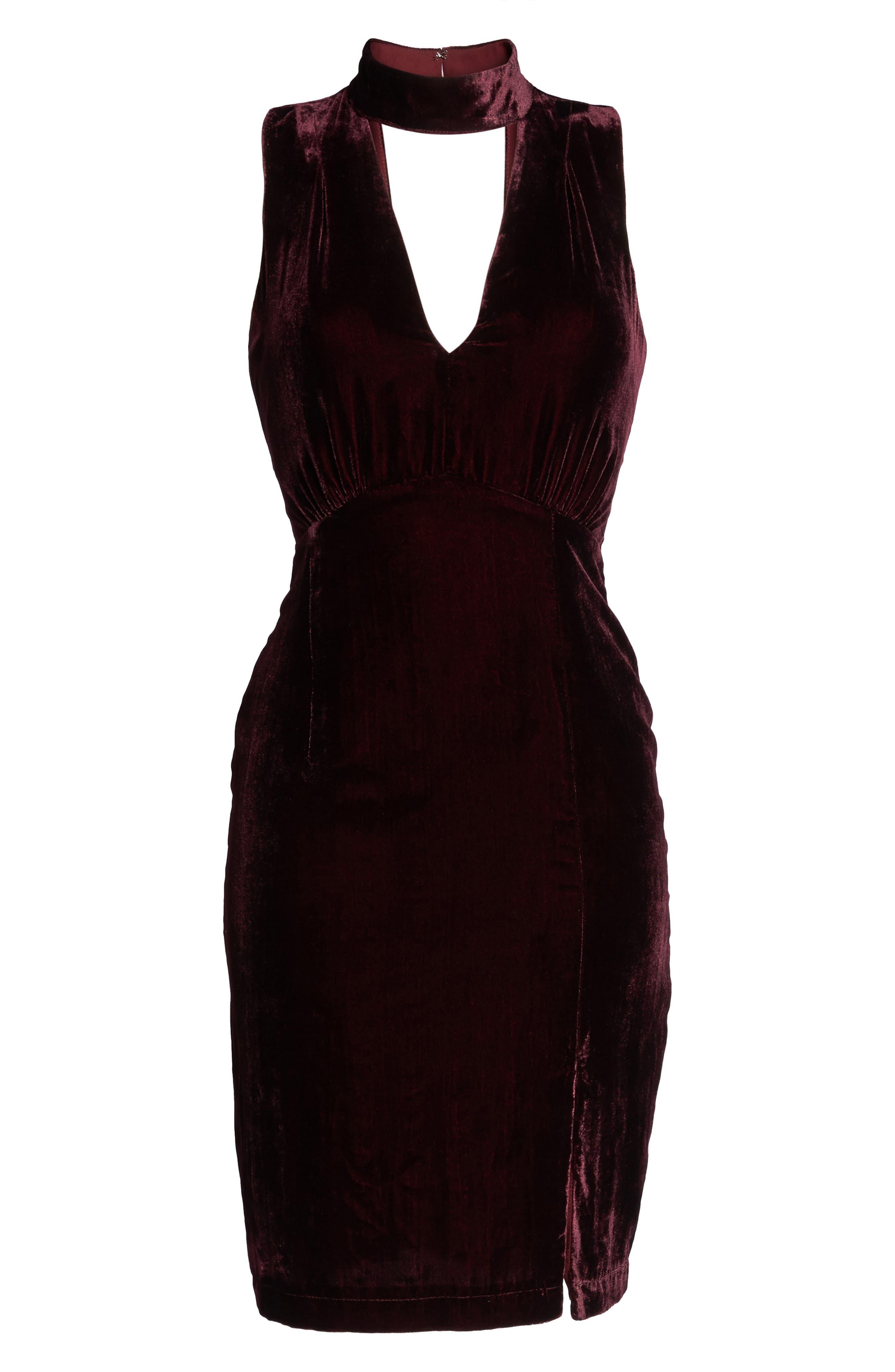 Elle Velvet Choker Sheath Dress,                             Alternate thumbnail 6, color,                             931