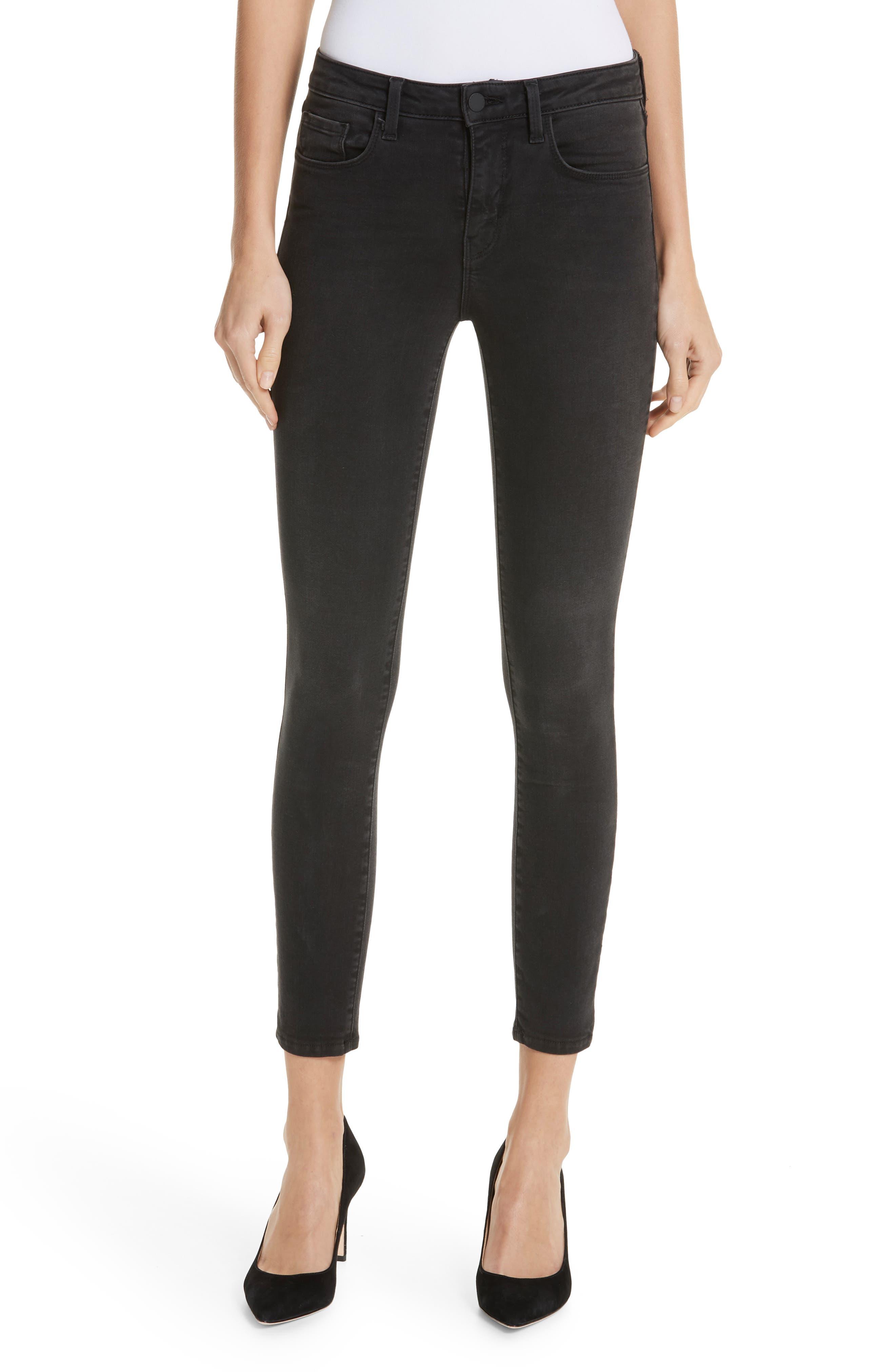Margot Crop Skinny Jeans, Main, color, DARK GRAPHITE