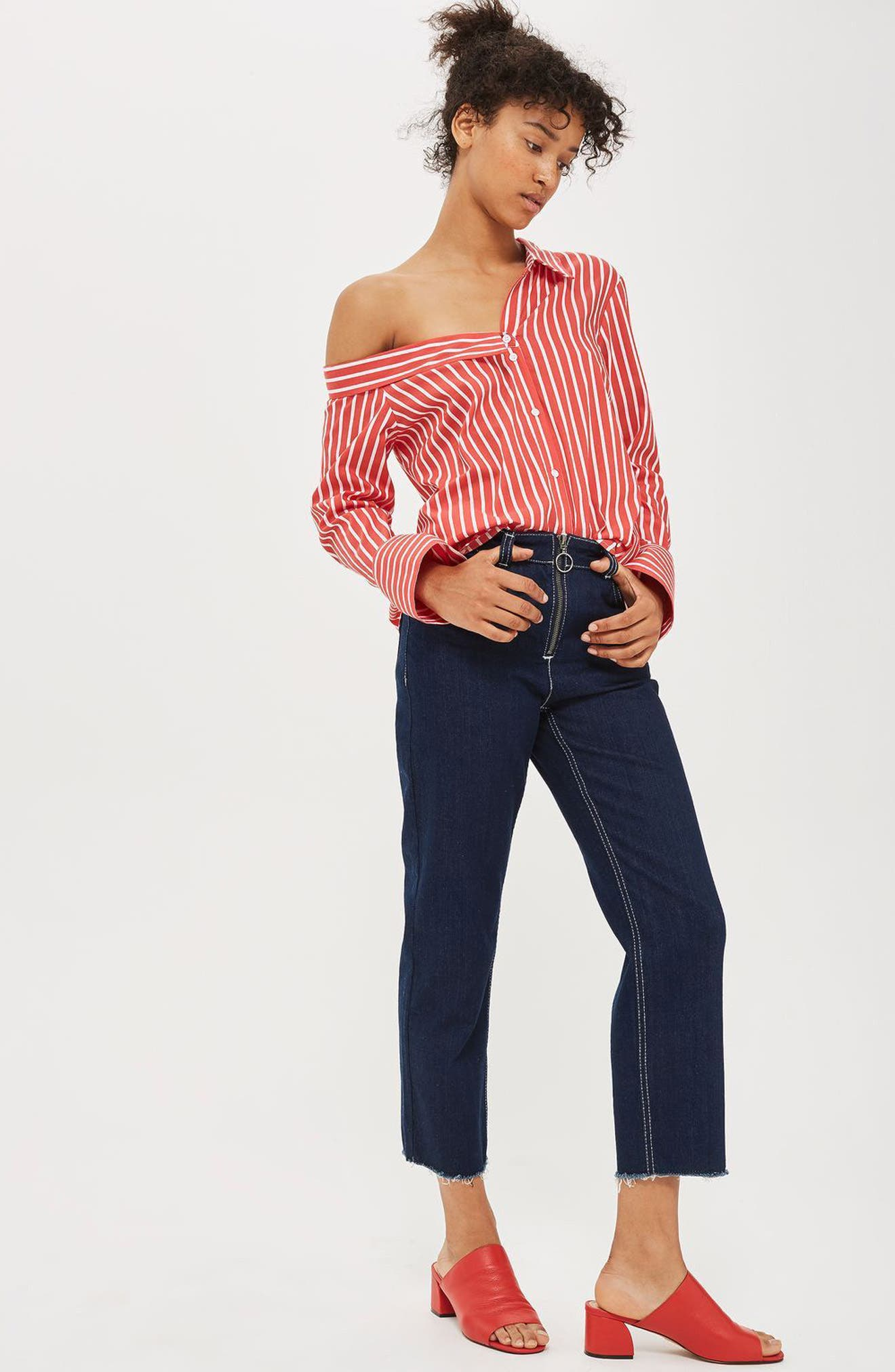 Stripe Off the Shoulder Top,                             Alternate thumbnail 4, color,                             600
