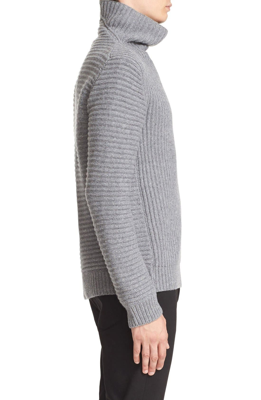 ACNE STUDIOS,                             Kalle Ribbed Turtleneck Sweater,                             Alternate thumbnail 4, color,                             020