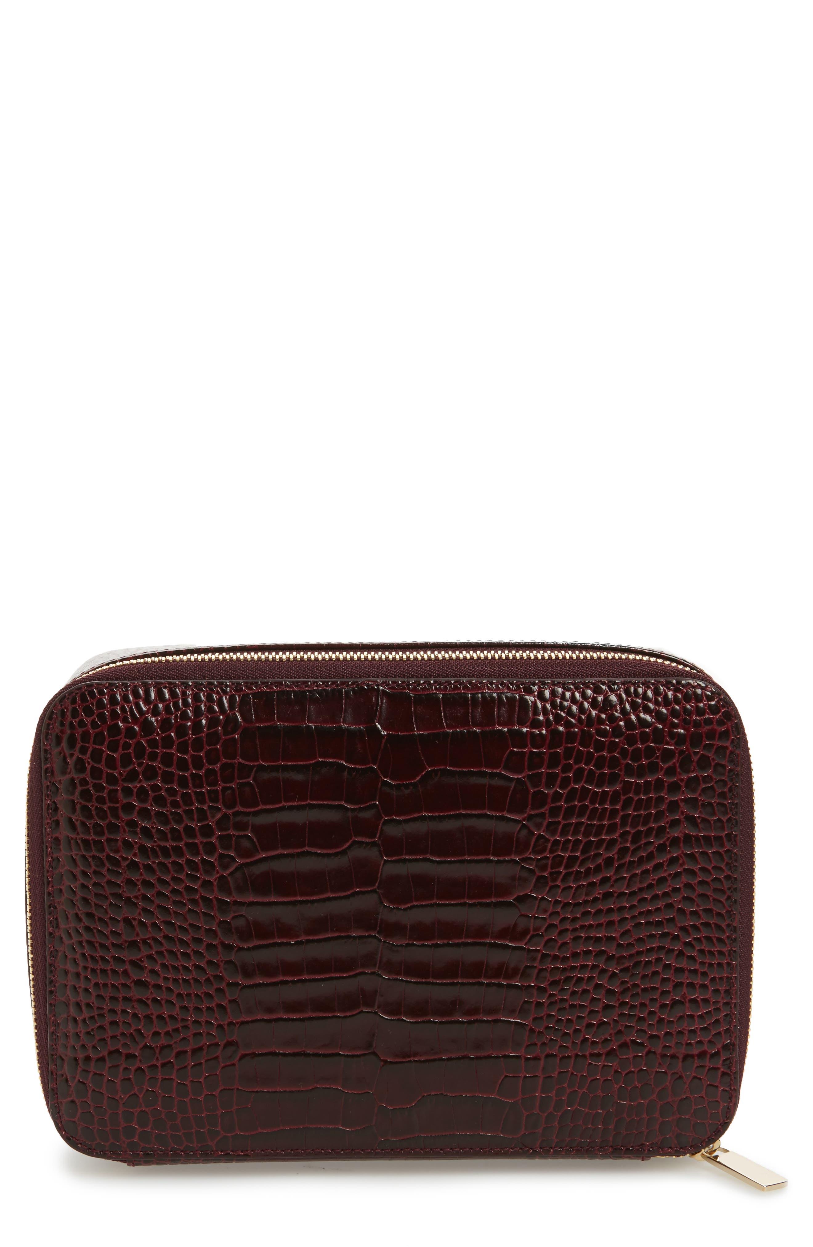 Mara Square Croc Embossed Leather Travel Case,                         Main,                         color, 930