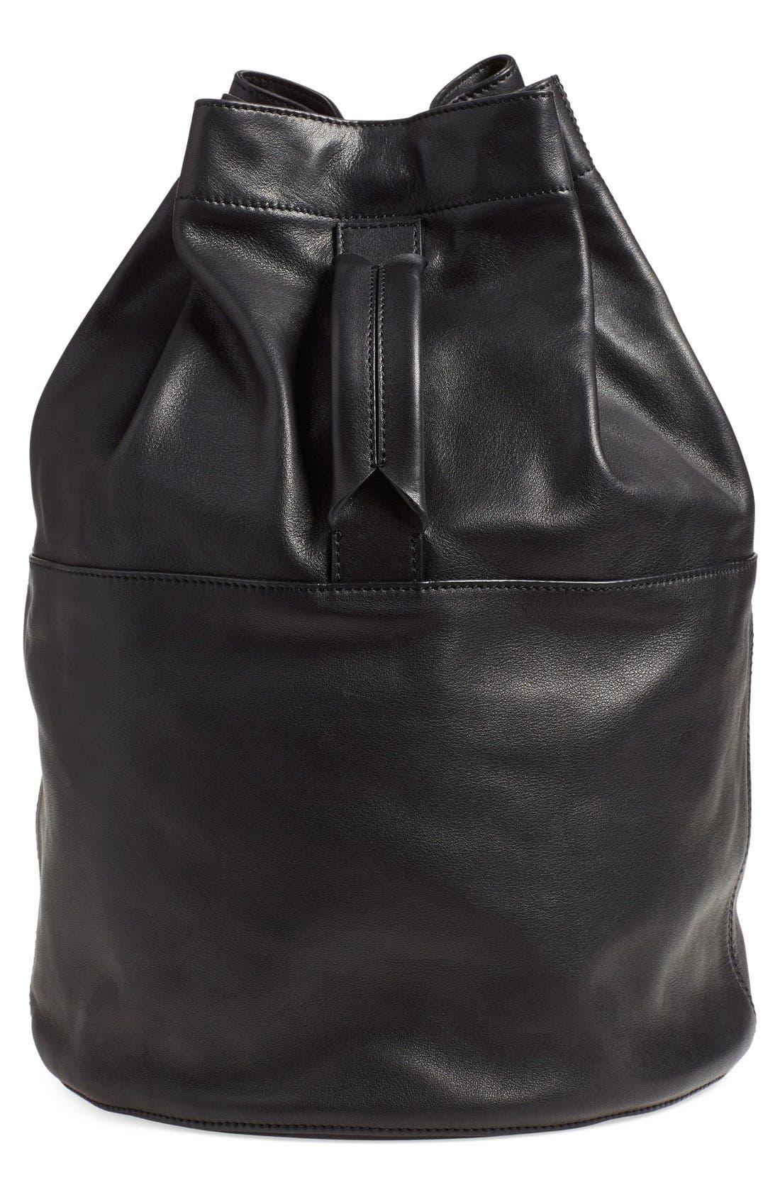 'Walker' Leather Backpack, Main, color, 001