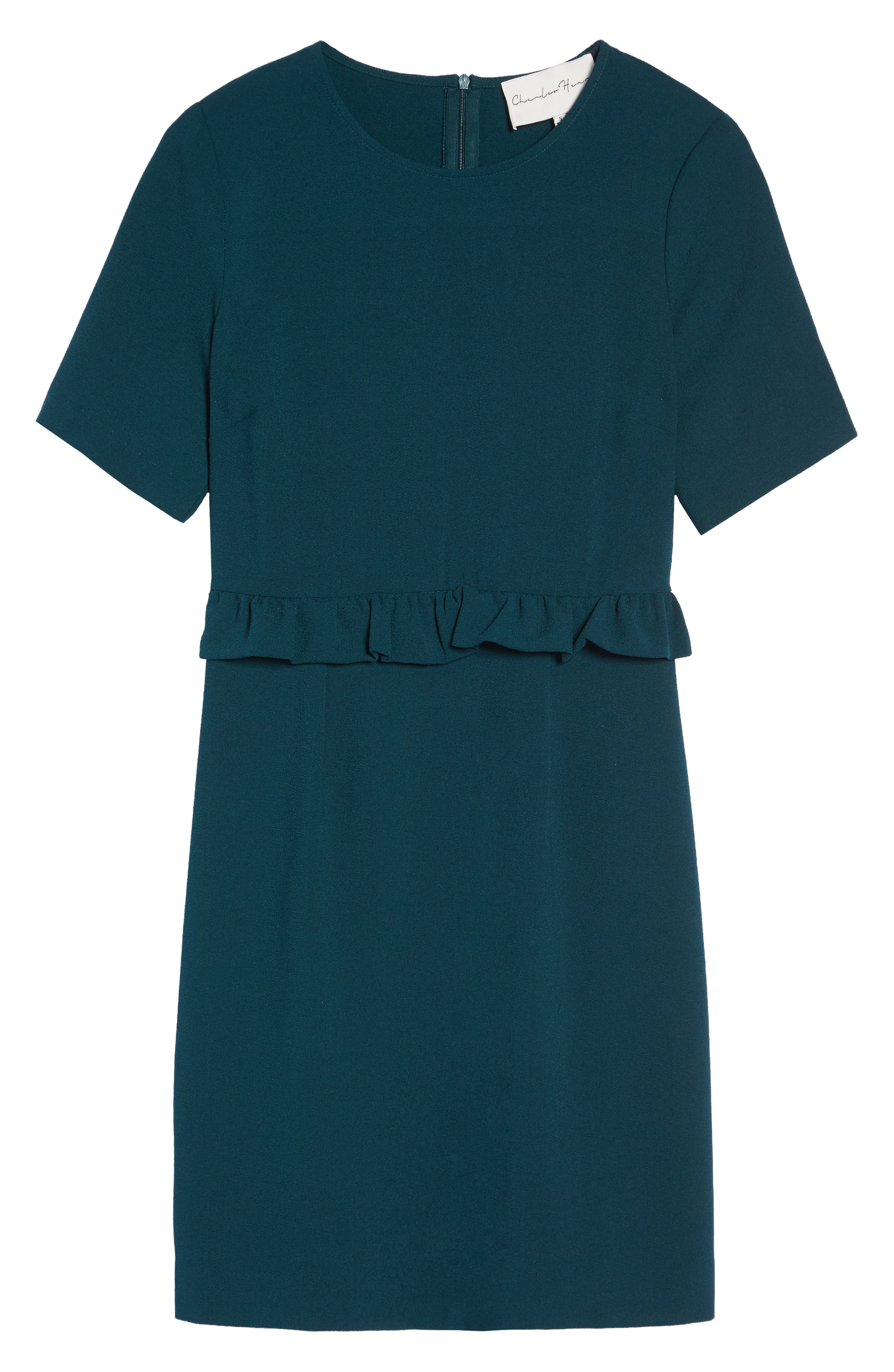 Ruffle Crepe Sheath Dress,                             Alternate thumbnail 6, color,                             345