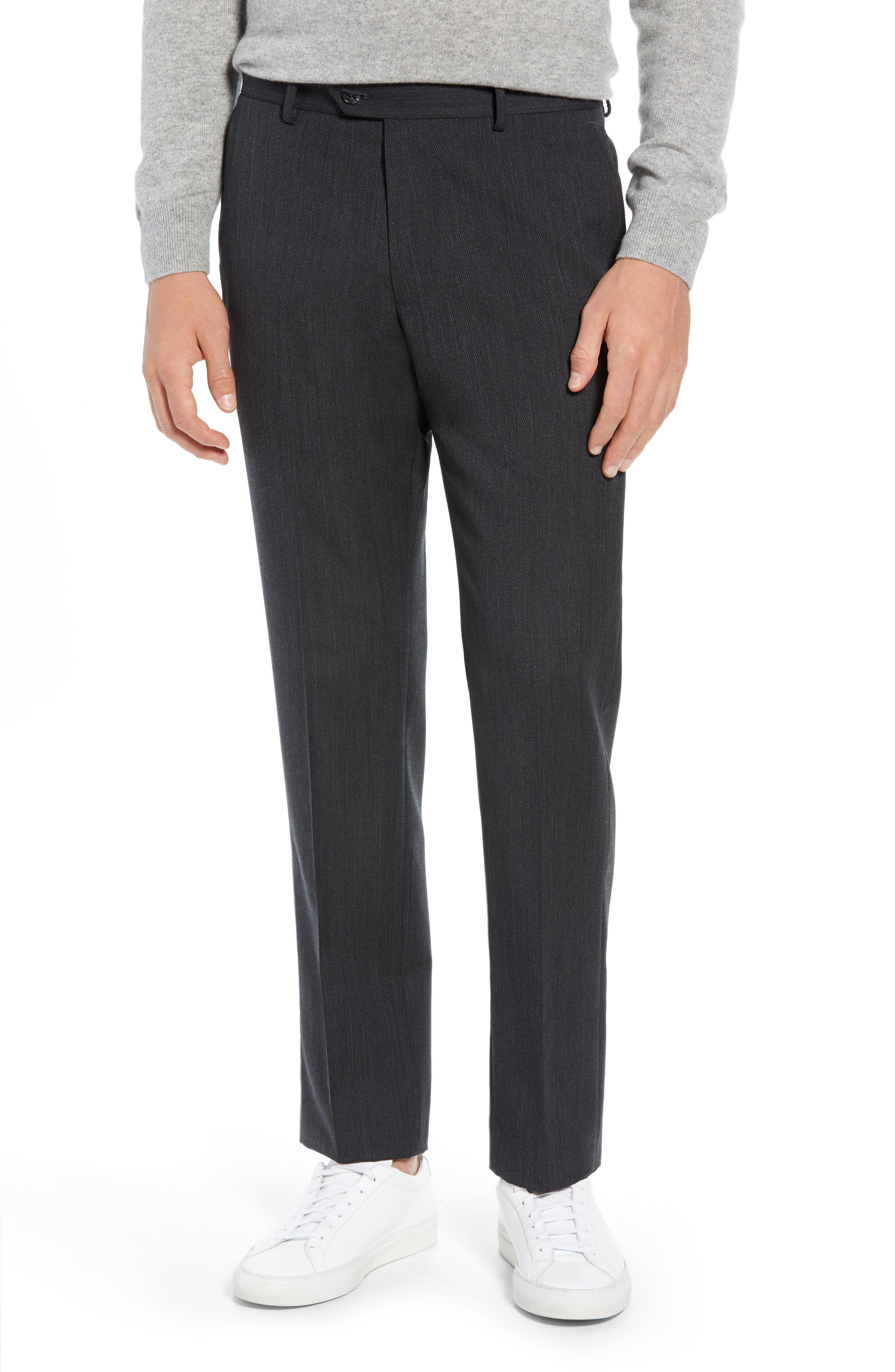Trim Fit Flat Front Wool Blend Pants,                         Main,                         color, 021