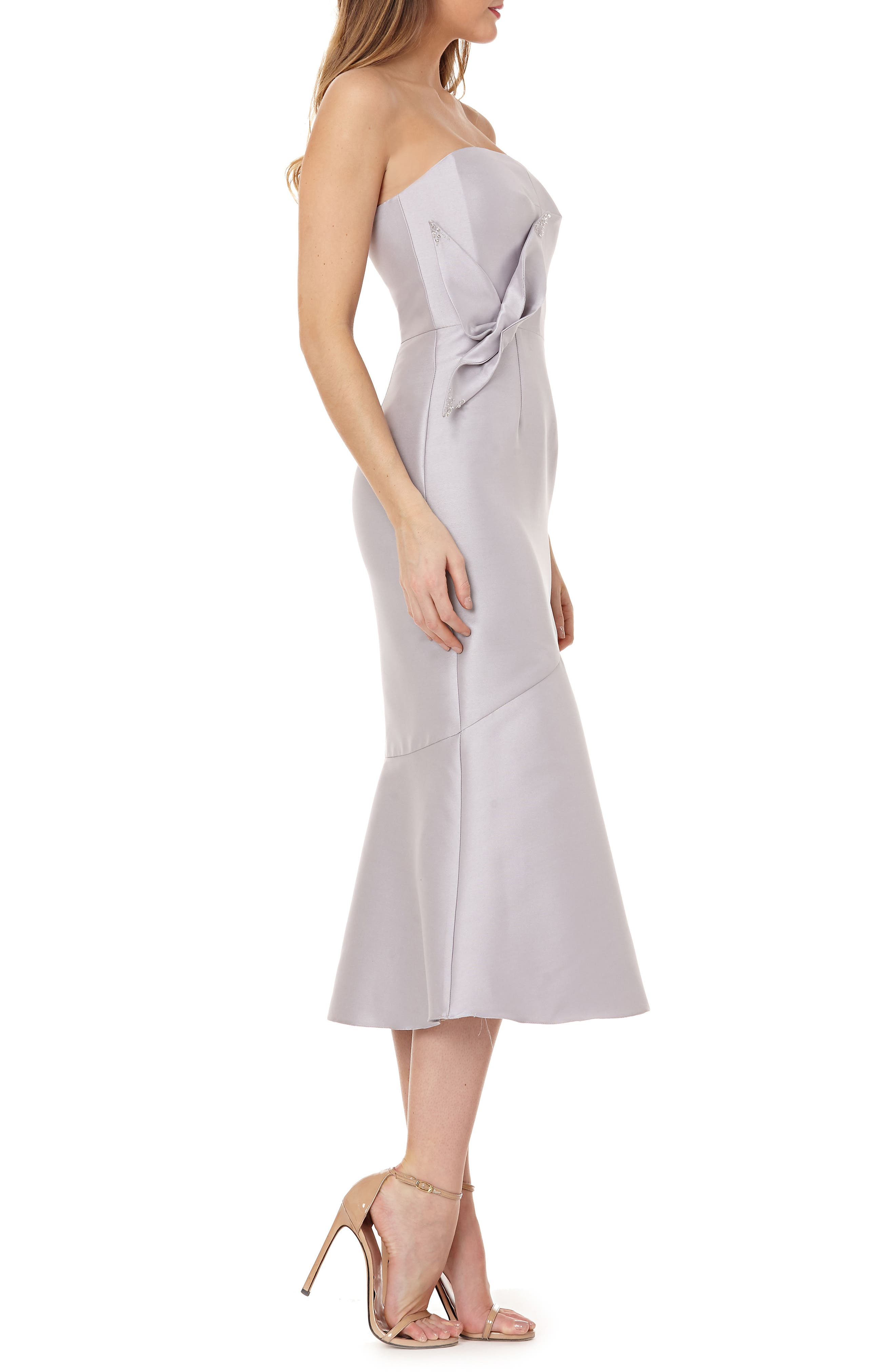 Strapless Satin Tea Length Dress,                             Alternate thumbnail 3, color,                             DOVE GREY