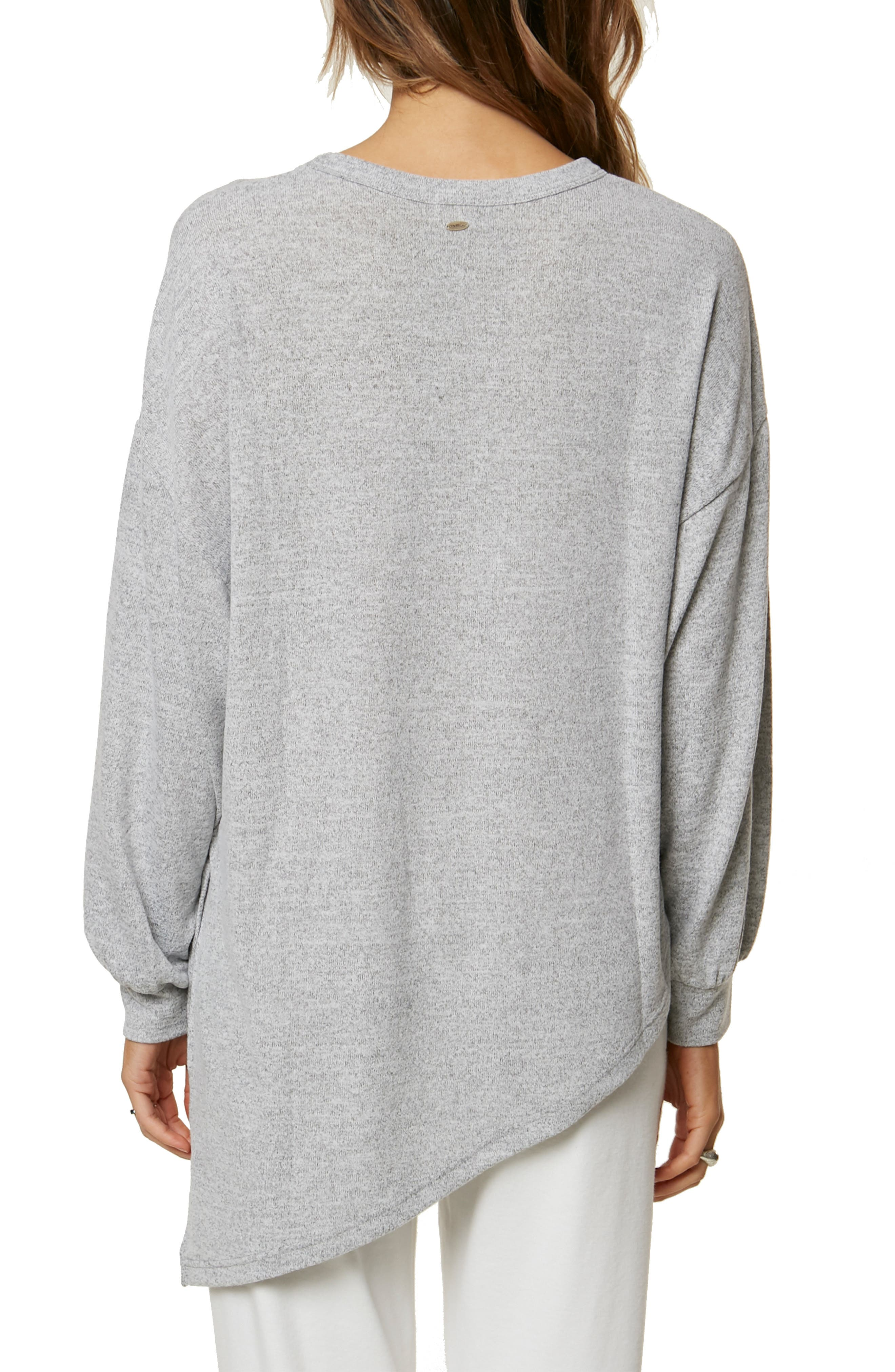 Flores Asymmetrical Knit Pullover,                             Alternate thumbnail 2, color,                             HEATHER GREY