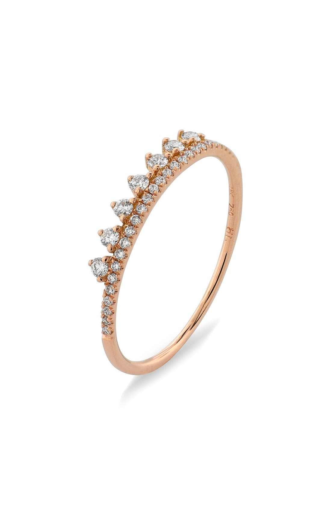 BONY LEVY,                             'Princess Crown' Stackable Diamond Ring,                             Main thumbnail 1, color,                             712