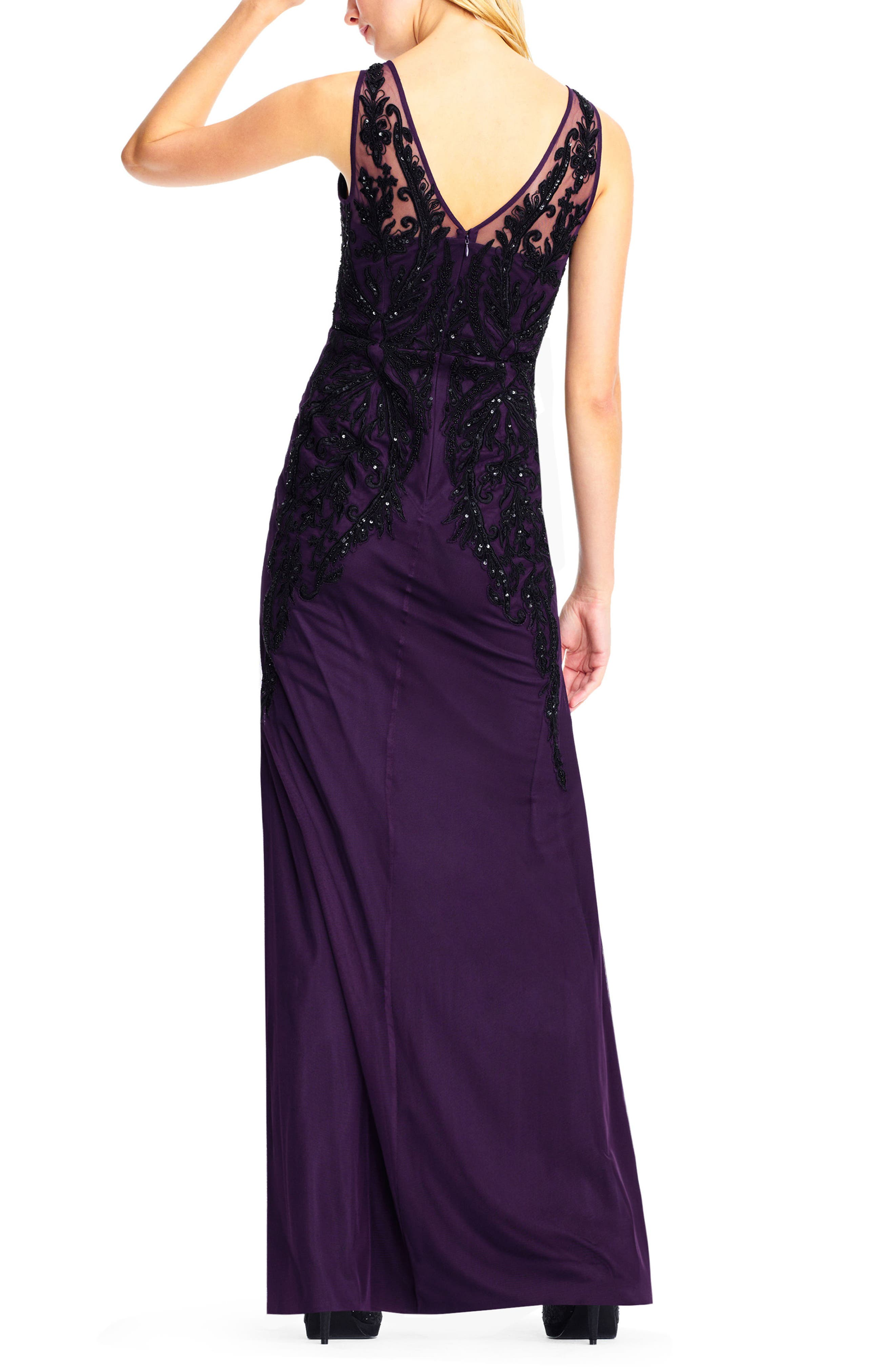 Beaded Illusion Sheath Gown,                             Alternate thumbnail 2, color,                             502