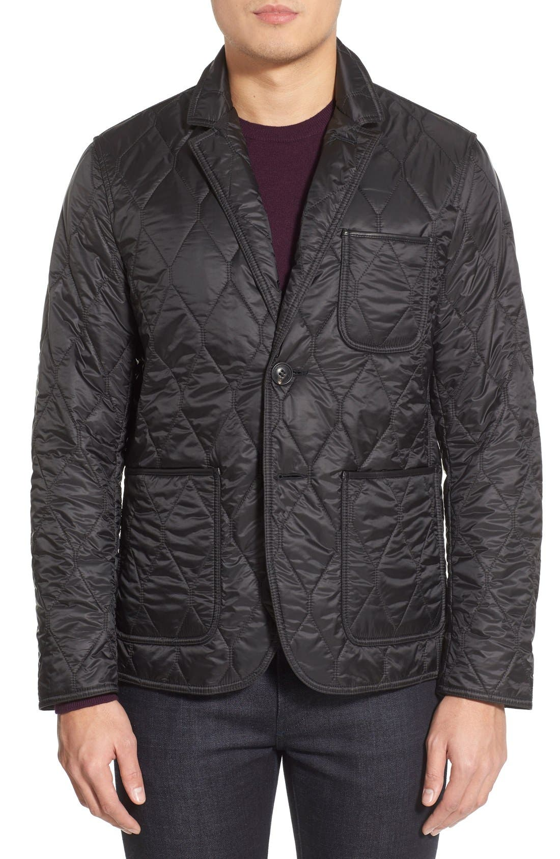 Gillington Water Resistant Quilted Jacket,                             Main thumbnail 1, color,                             BLACK