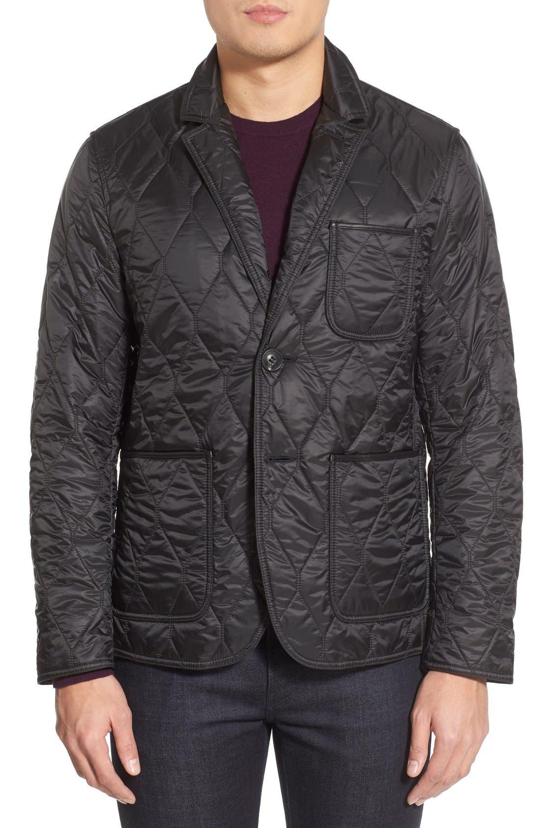Gillington Water Resistant Quilted Jacket,                         Main,                         color, BLACK