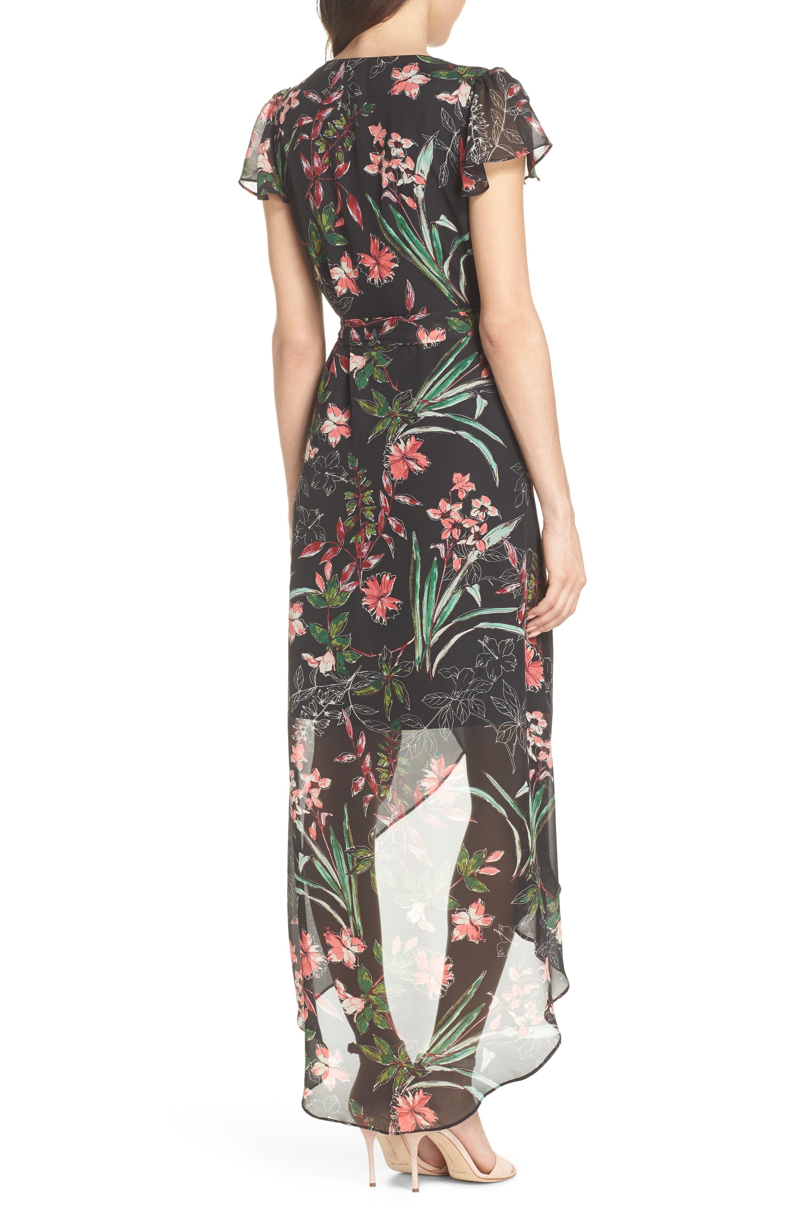 Chiffon Faux Wrap Dress,                             Alternate thumbnail 2, color,                             001