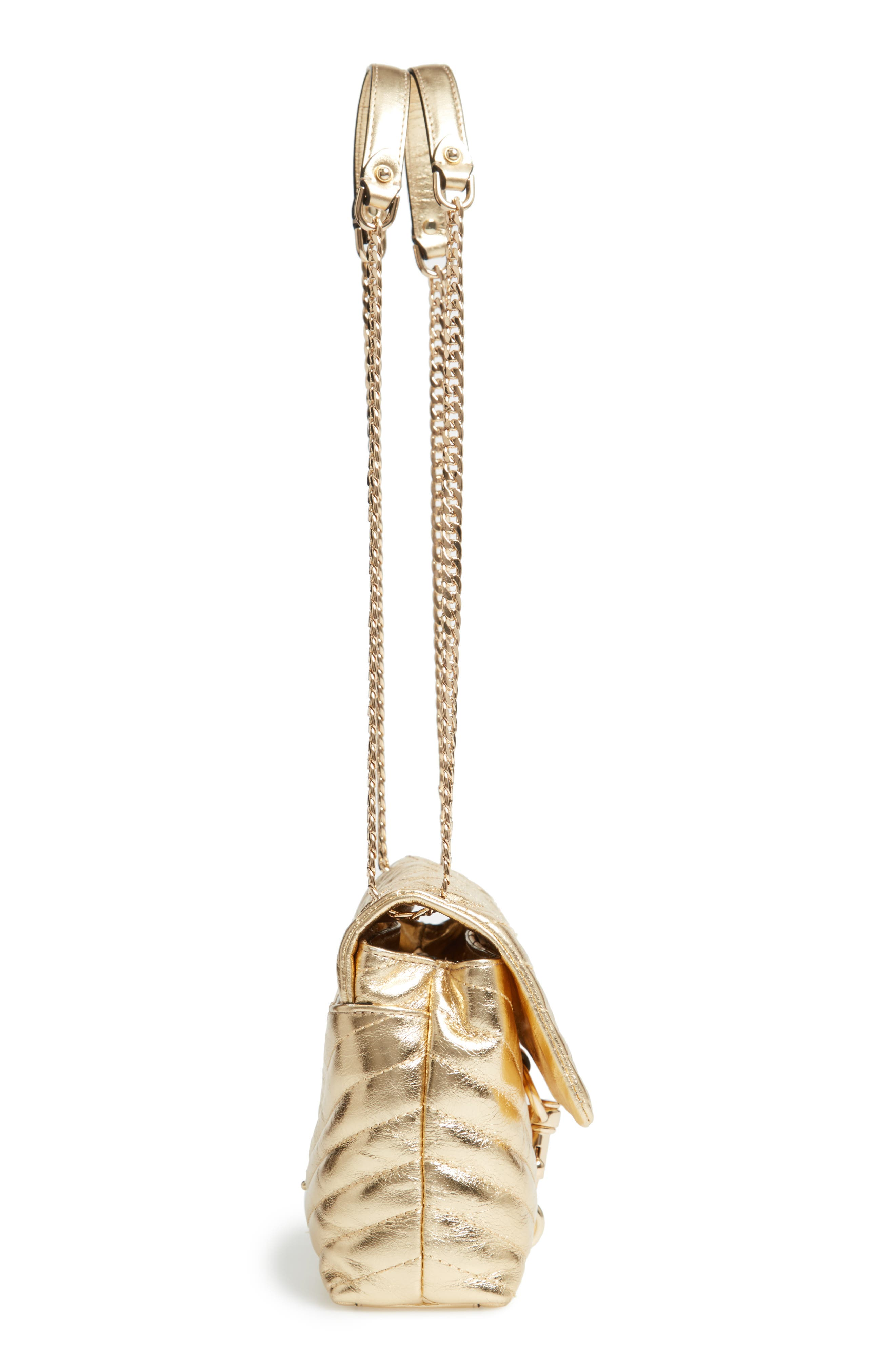 Edie Metallic Leather Shoulder Bag,                             Alternate thumbnail 5, color,                             GOLD