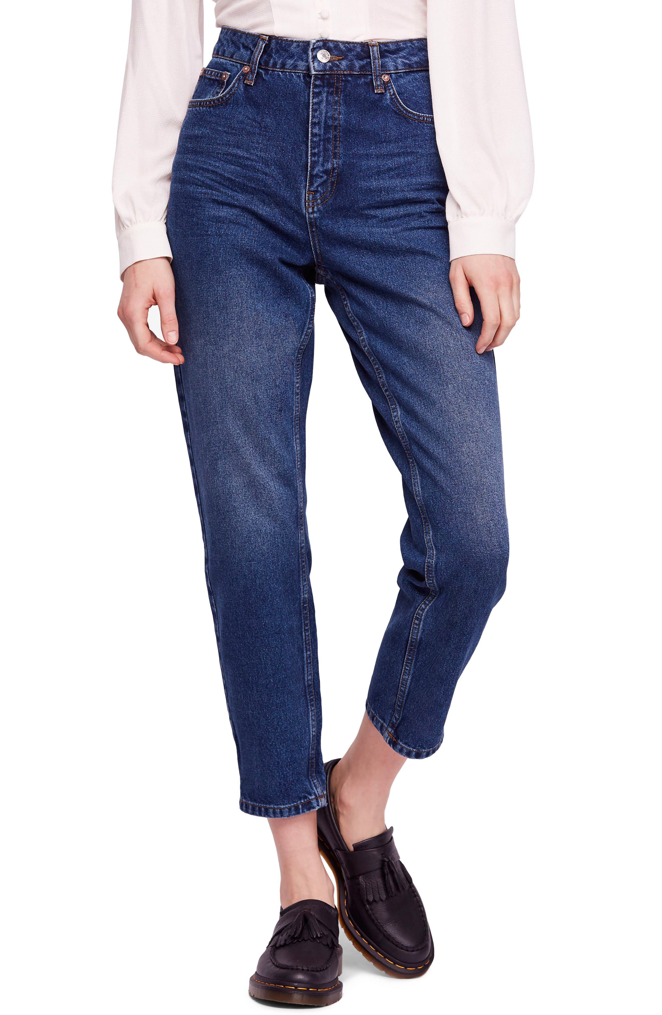 We the Free by Free People Mom Ankle Jeans,                             Main thumbnail 1, color,                             DARK DENIM