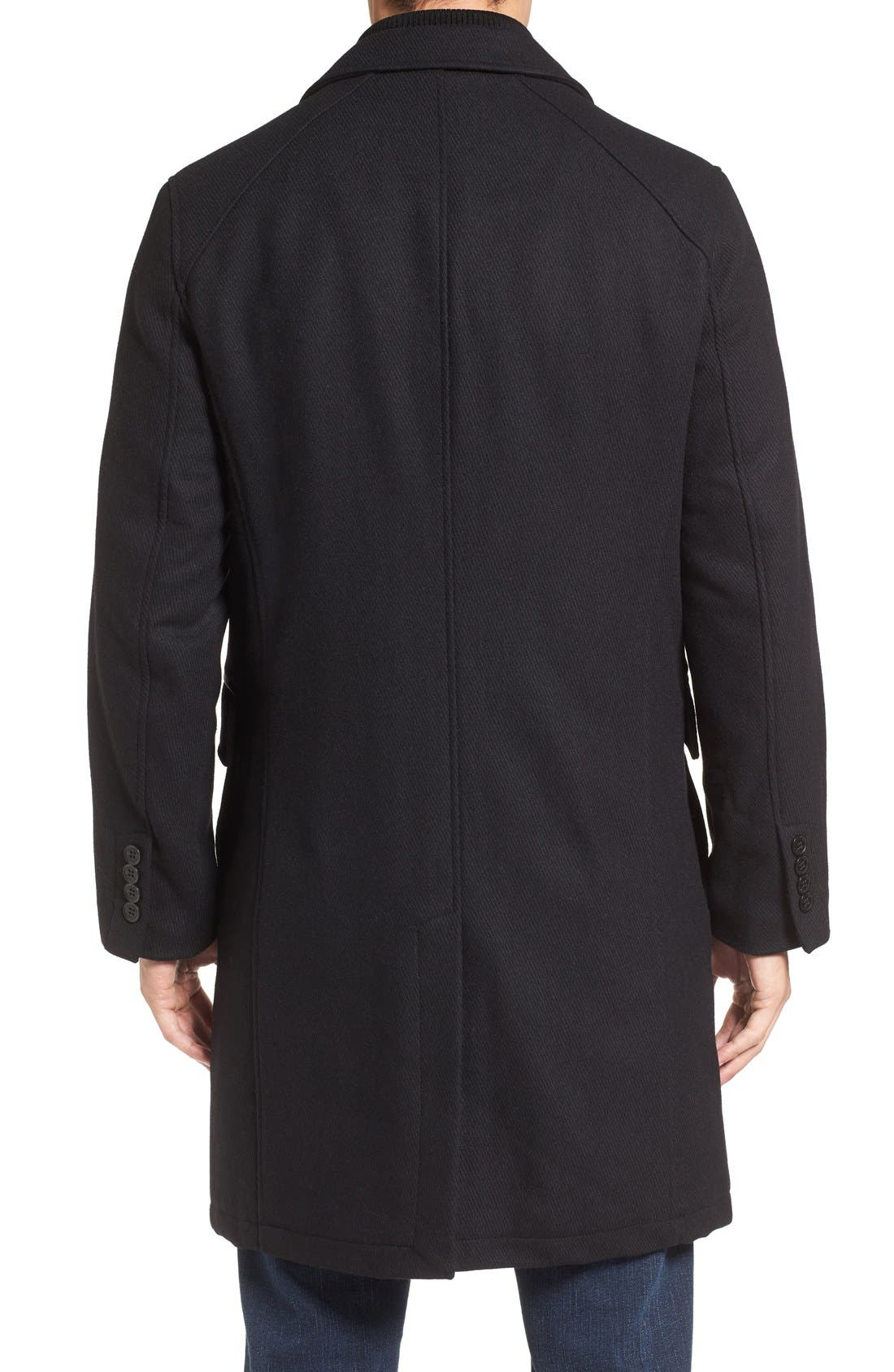 Wool Blend Overcoat with Knit Bib Inset,                             Alternate thumbnail 2, color,                             BLACK