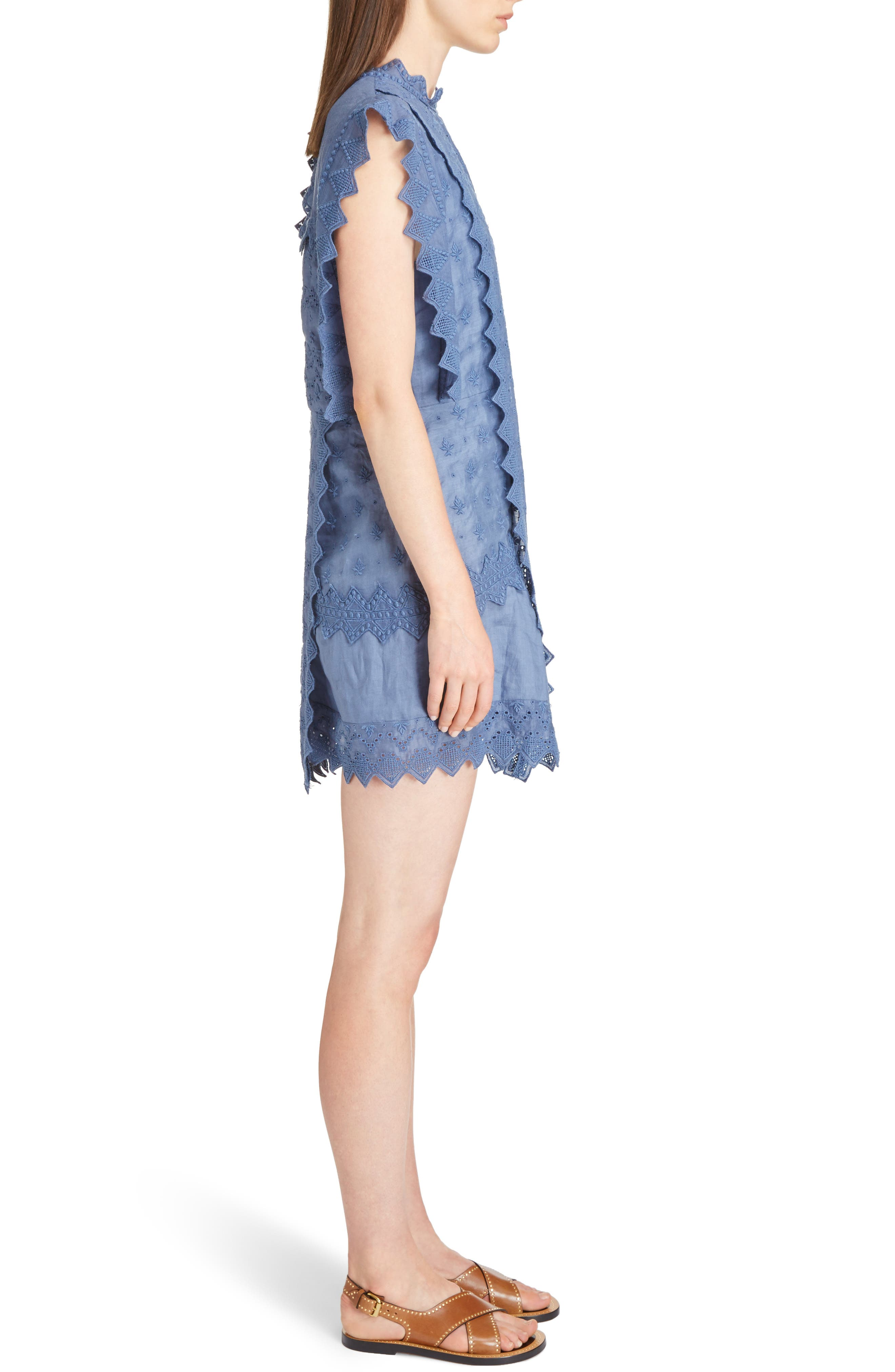 Nubia Embroidered Eyelet Dress,                             Alternate thumbnail 3, color,                             400