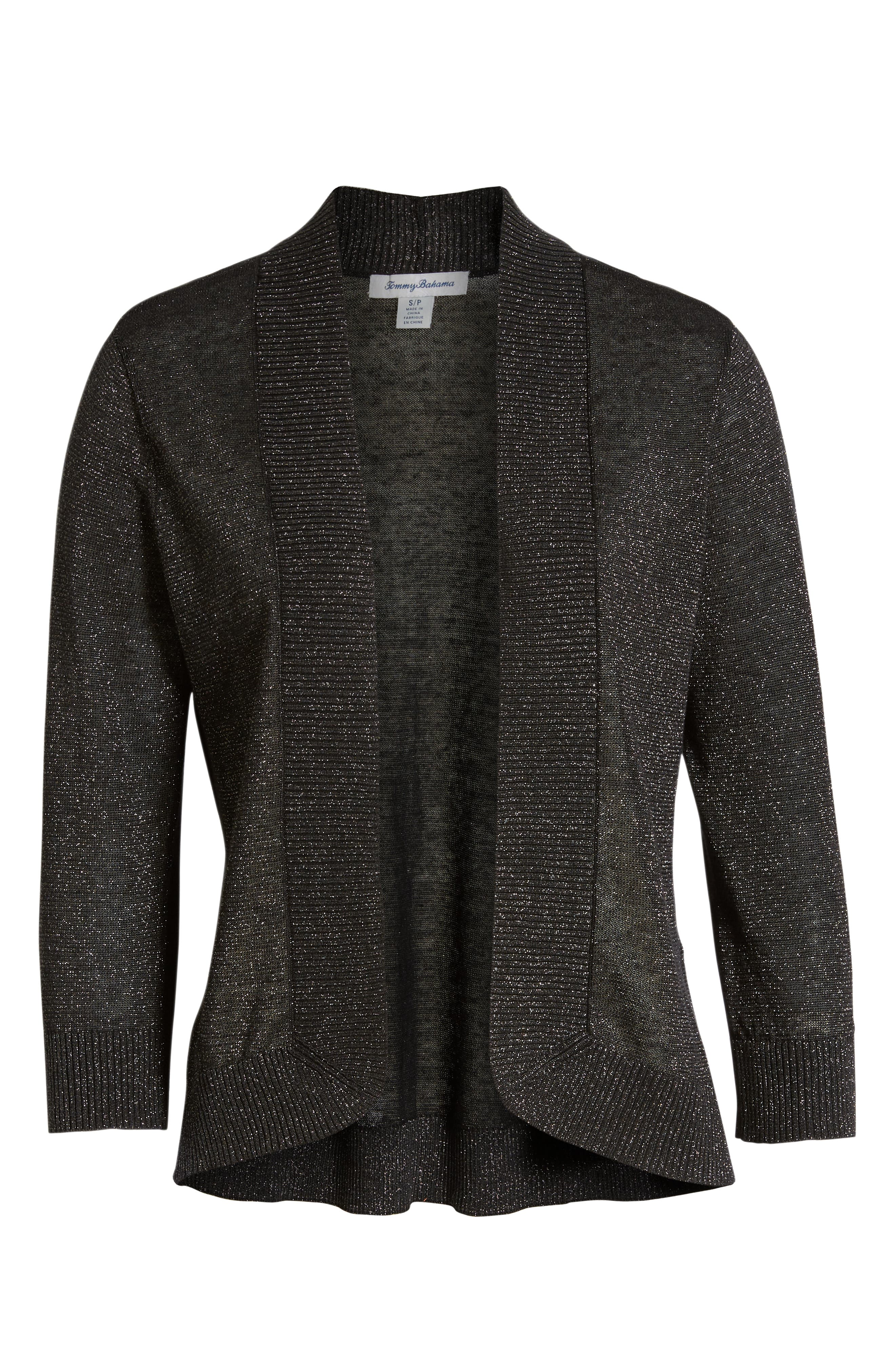 Lea Shimmer Open Front Cardigan,                             Alternate thumbnail 6, color,                             PEWTER