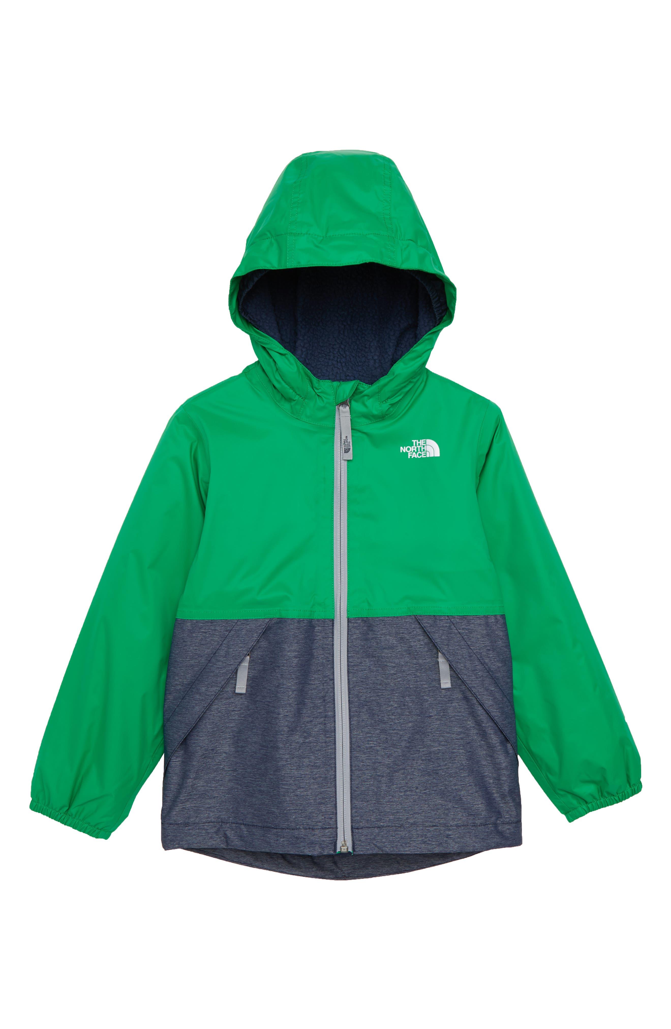 Warm Storm Hooded Waterproof Jacket, Main, color, PRIMARY GREEN