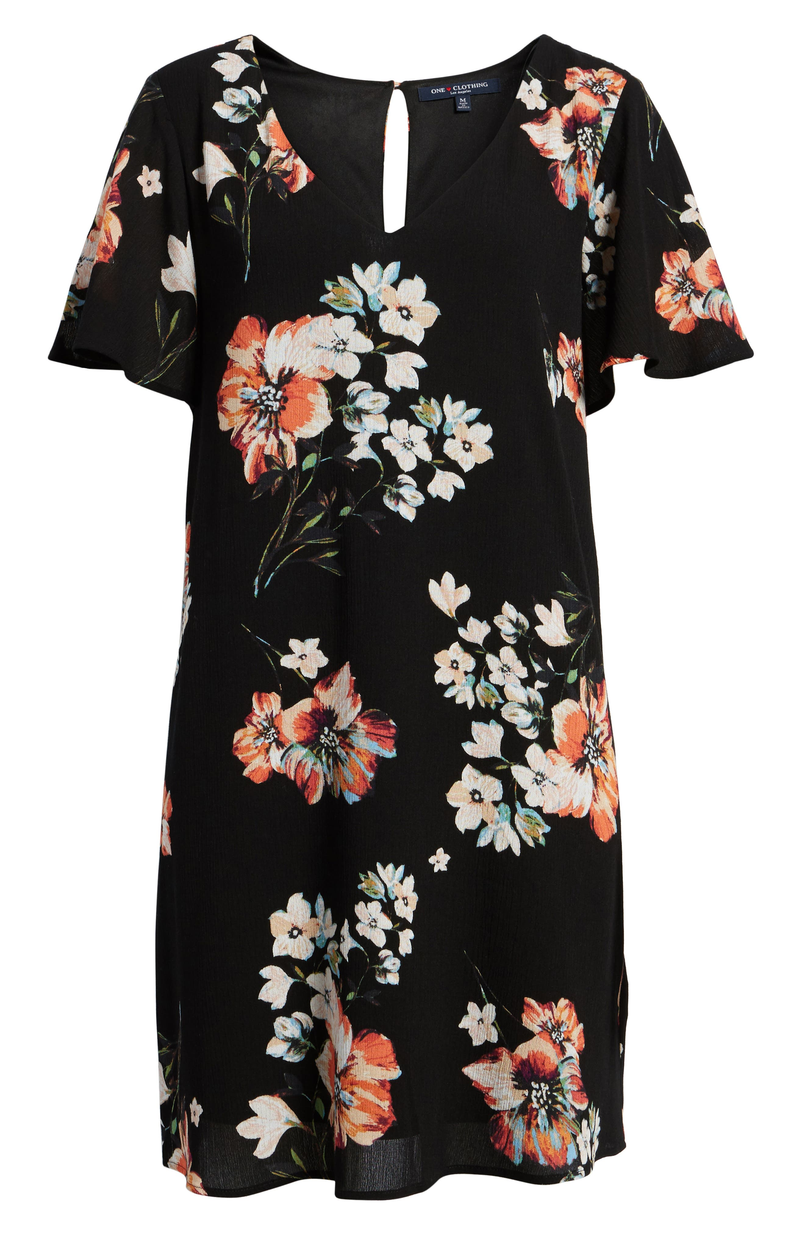 Floral Shift Dress,                             Alternate thumbnail 6, color,                             001