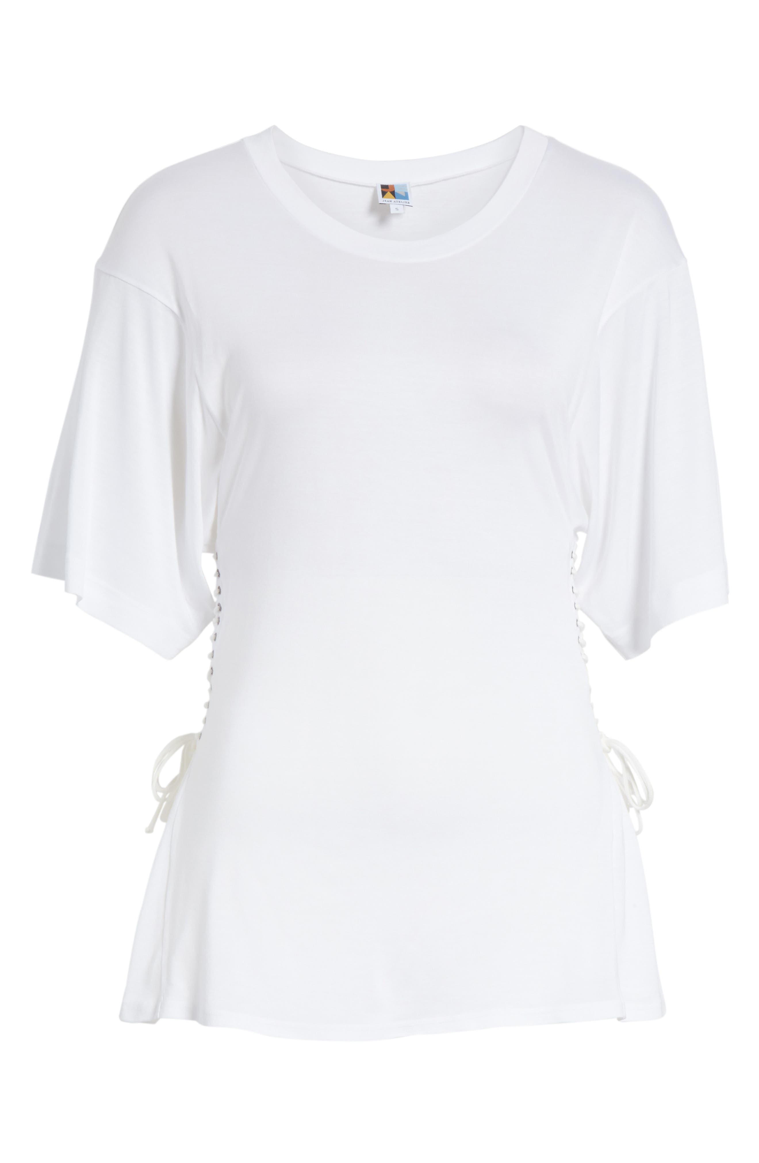Axel Lace-Up Tee,                             Alternate thumbnail 7, color,                             WHITE