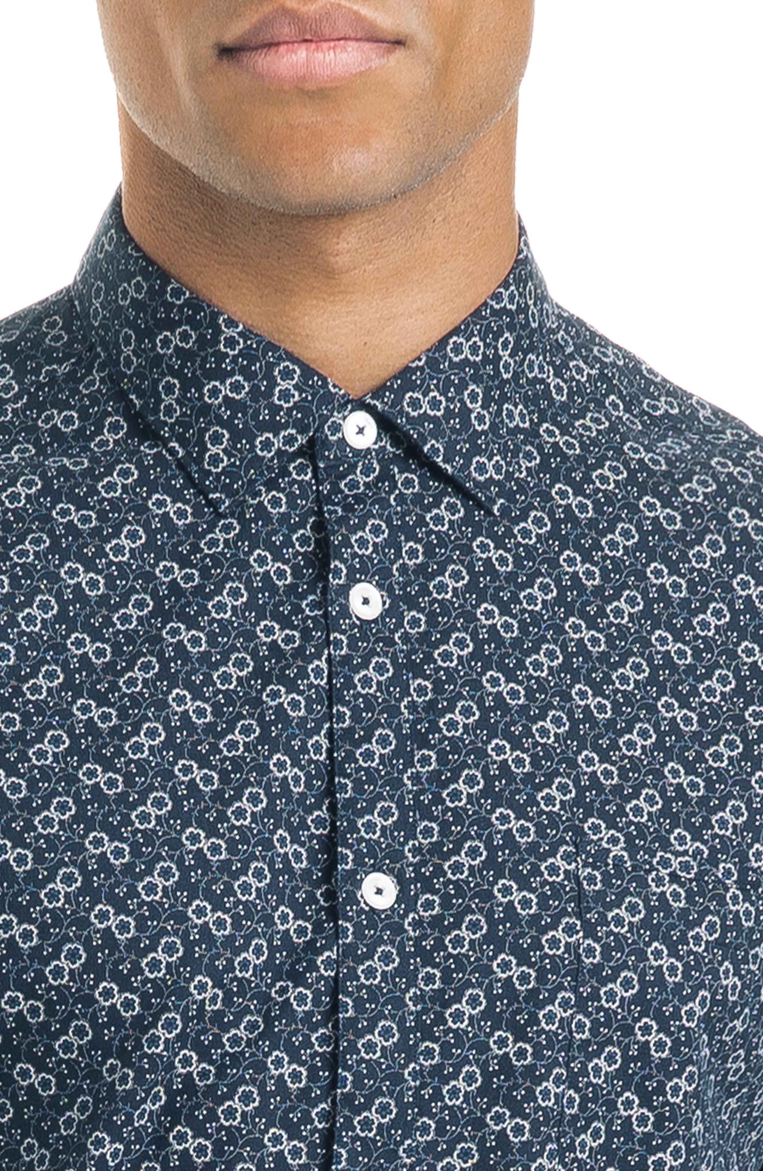 Floral Dot Slim Fit Sport Shirt,                             Alternate thumbnail 4, color,                             NAVY