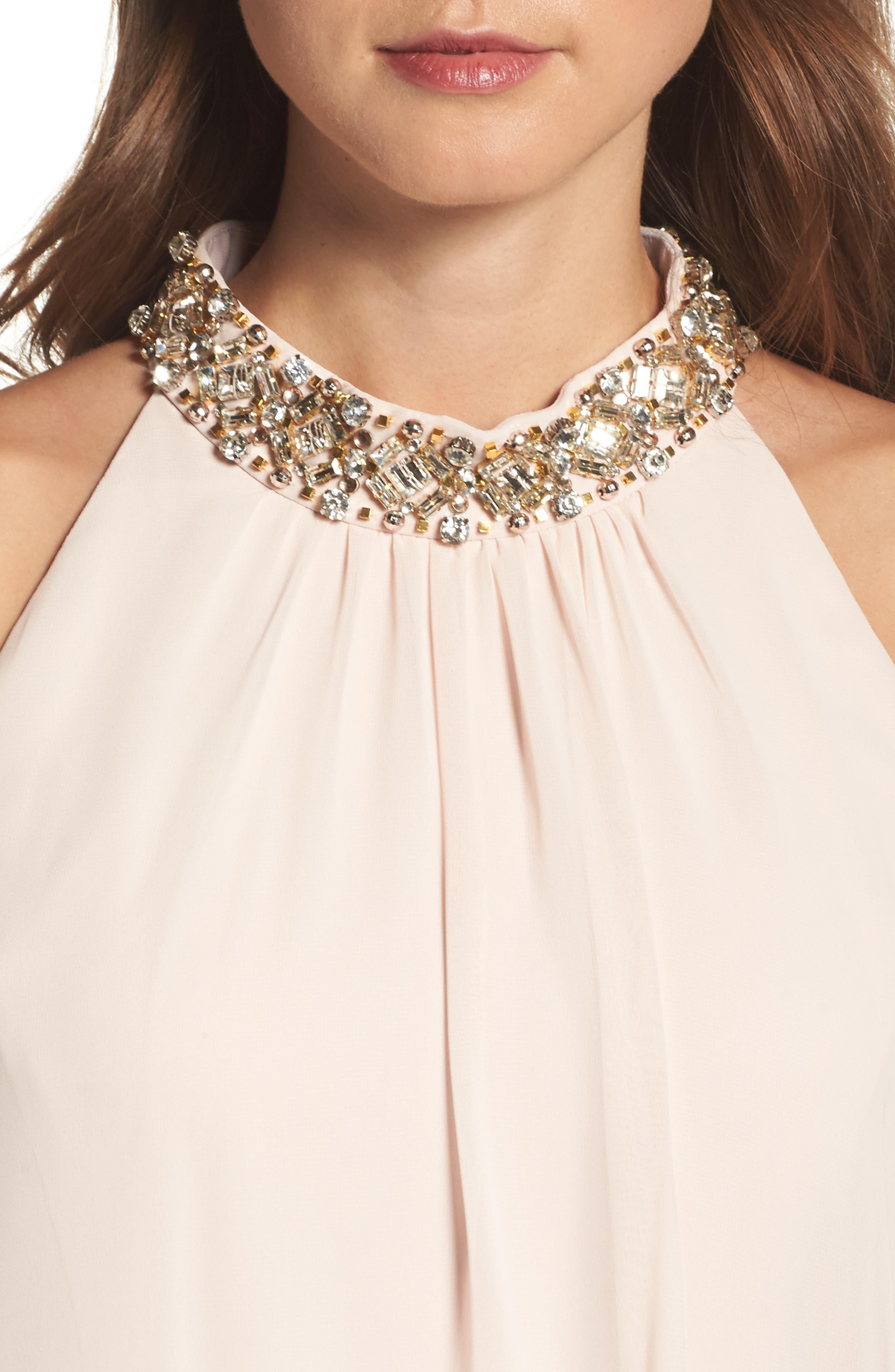 Beaded Collar Trapeze Dress,                             Alternate thumbnail 8, color,