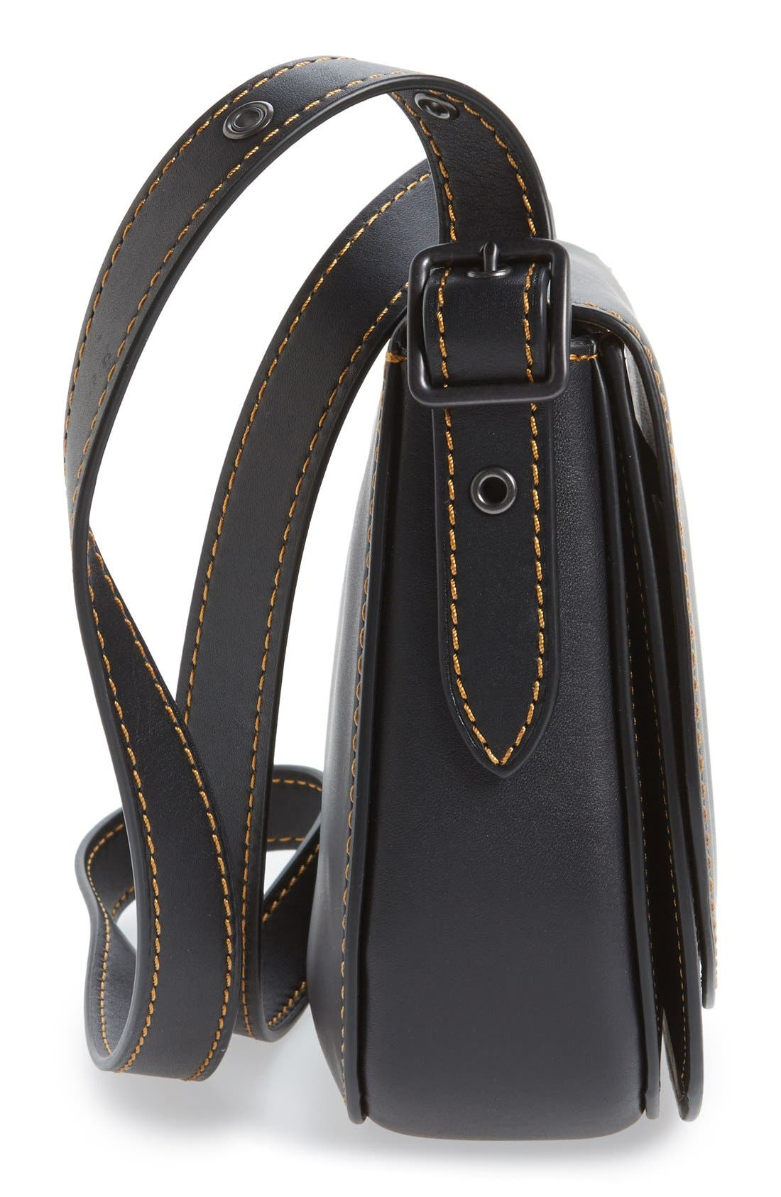 '23' Leather Saddle Bag,                             Alternate thumbnail 5, color,                             001