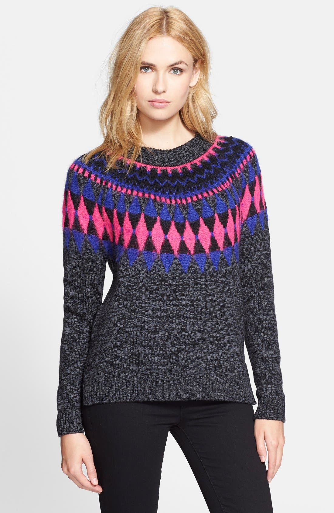 MILLY Graphic Fair Isle Pullover, Main, color, 020