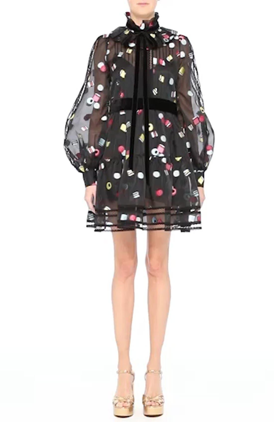 Licorice Fil Coupé Balloon Sleeve Dress,                             Alternate thumbnail 7, color,                             001