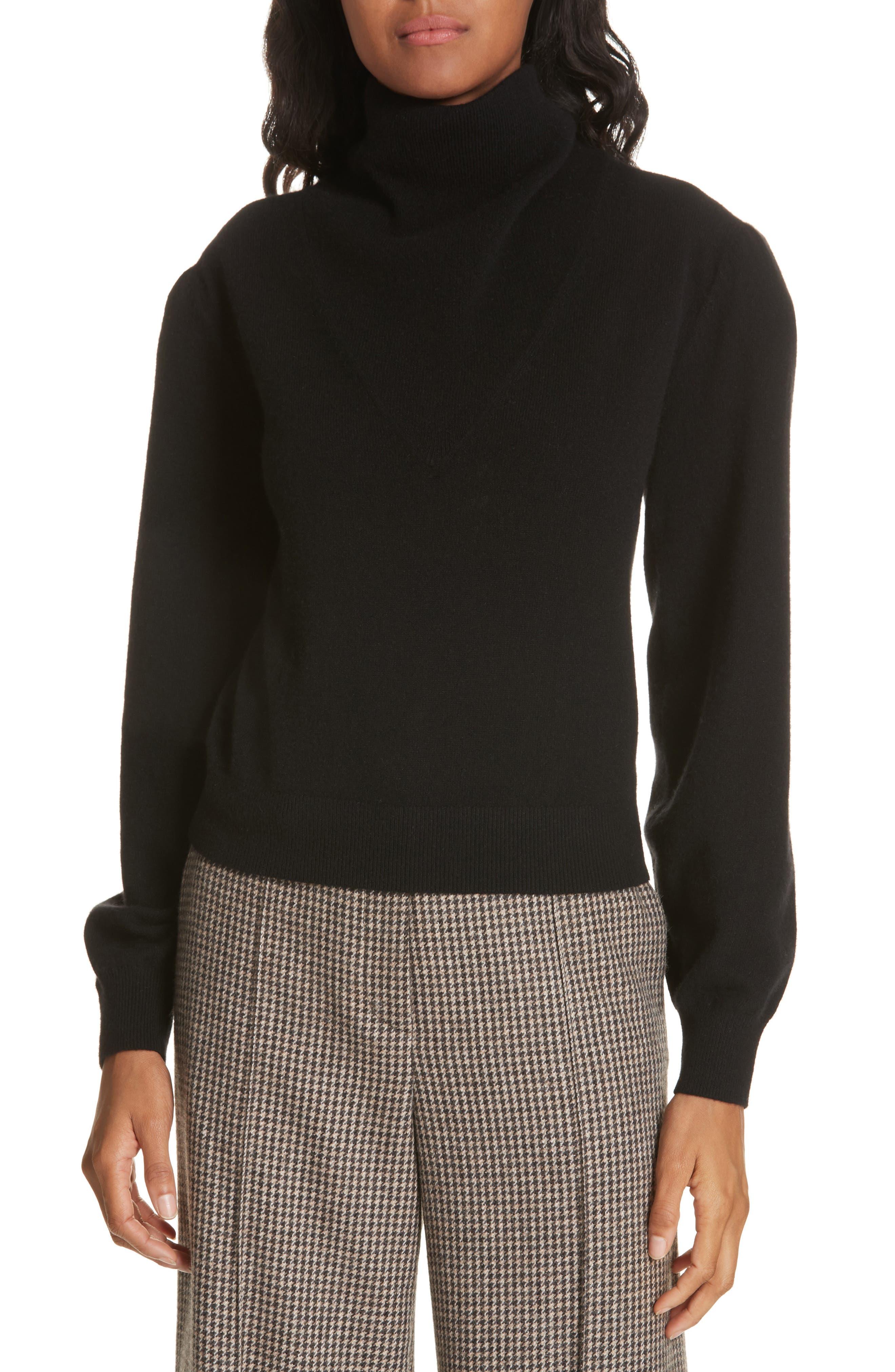 Lilla Puff Sleeve Cashmere Sweater,                             Main thumbnail 1, color,                             BLACK