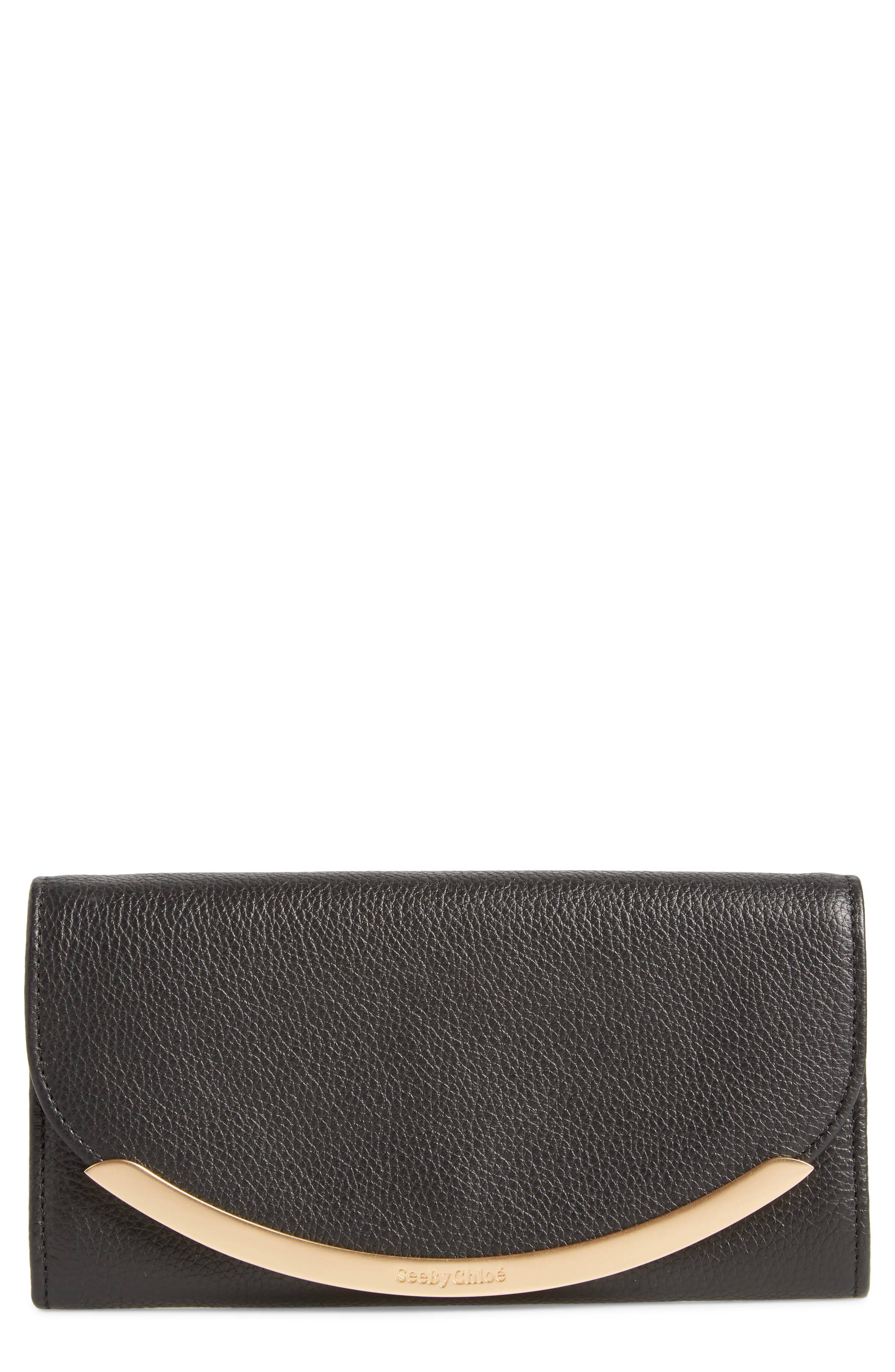 Lizzie Leather Continental Wallet,                         Main,                         color, BLACK