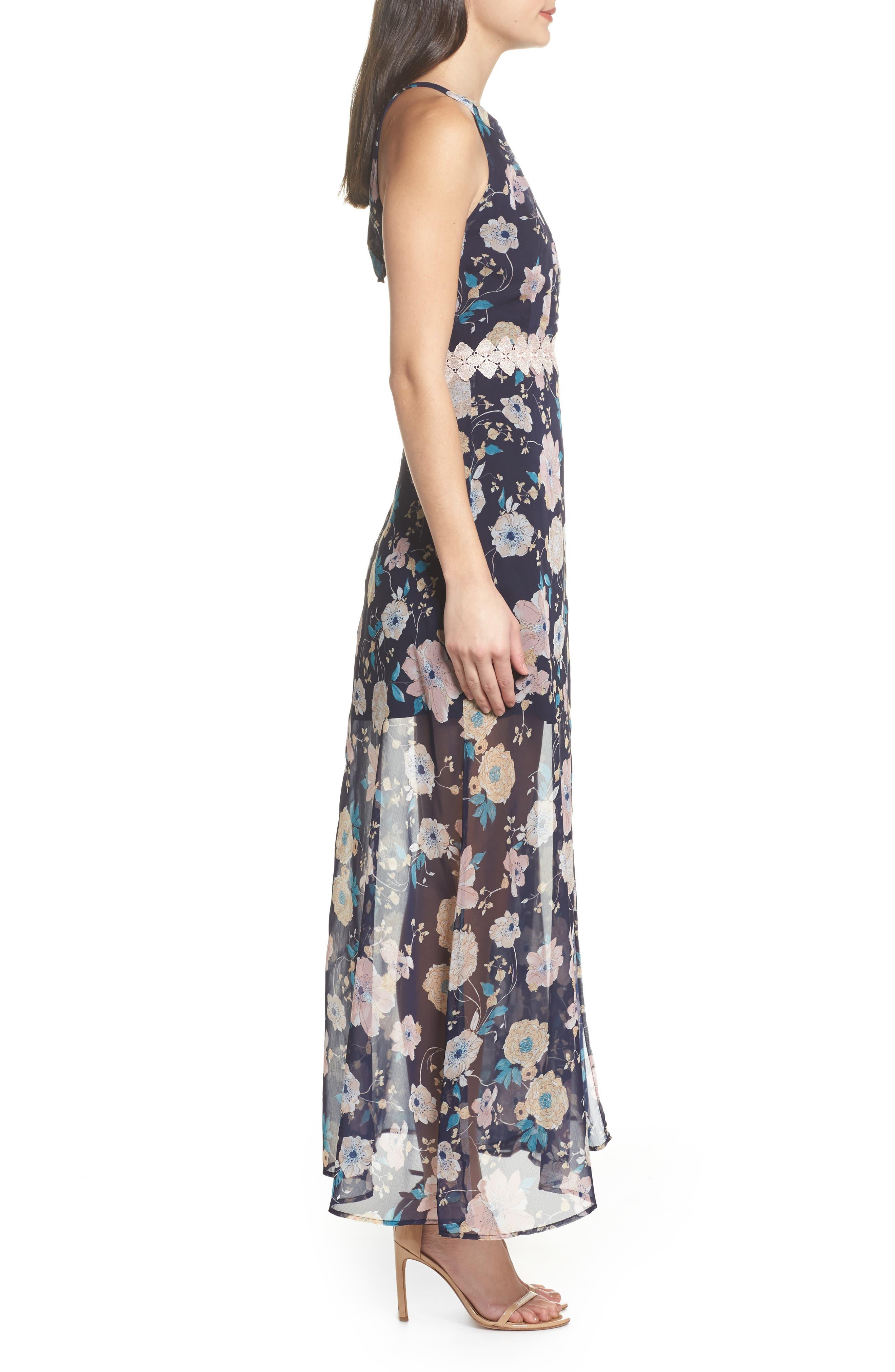 Brylee Floral Print Maxi Dress,                             Alternate thumbnail 3, color,                             400