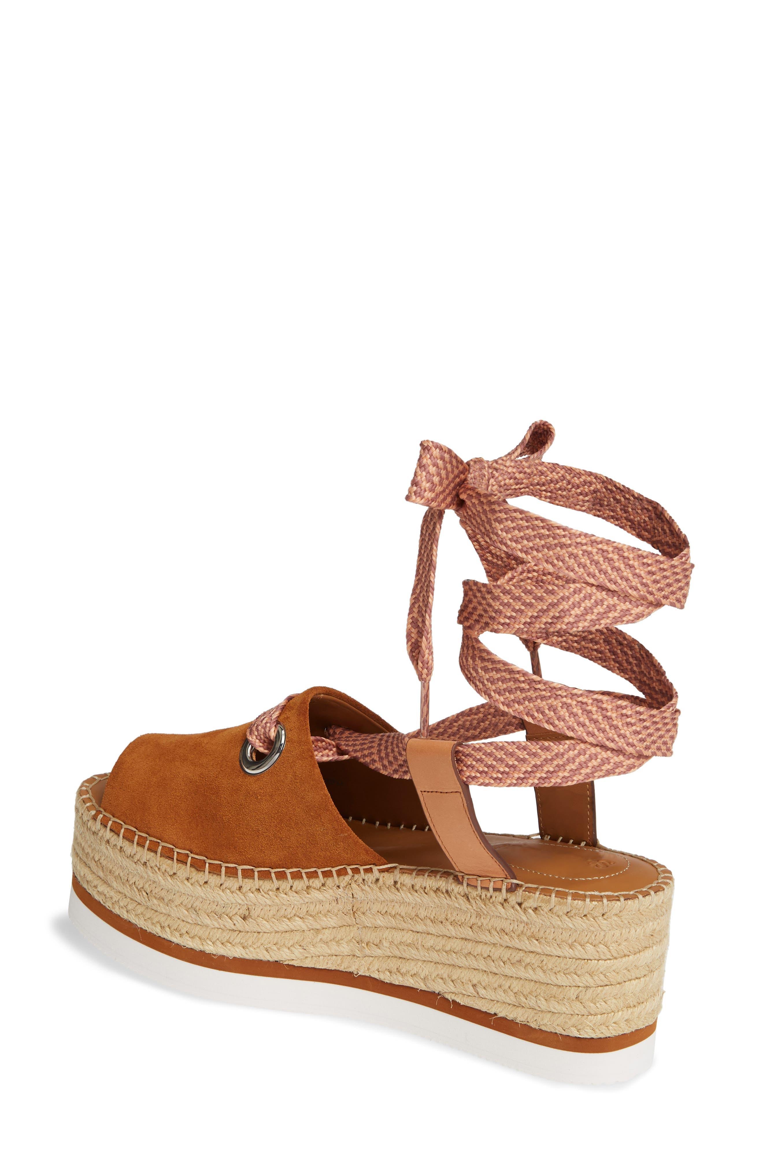 Glyn Amber Platform Ankle Wrap Sandal,                             Alternate thumbnail 2, color,                             TAN