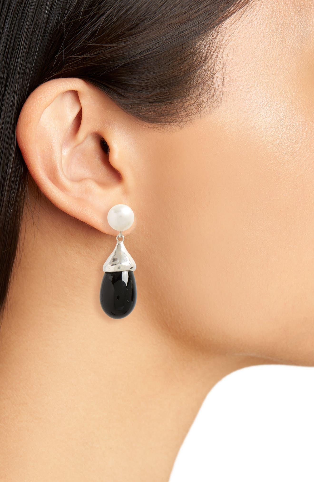 Audrey Freshwater Pearl & Glass Teardrop Earrings,                             Alternate thumbnail 2, color,                             040