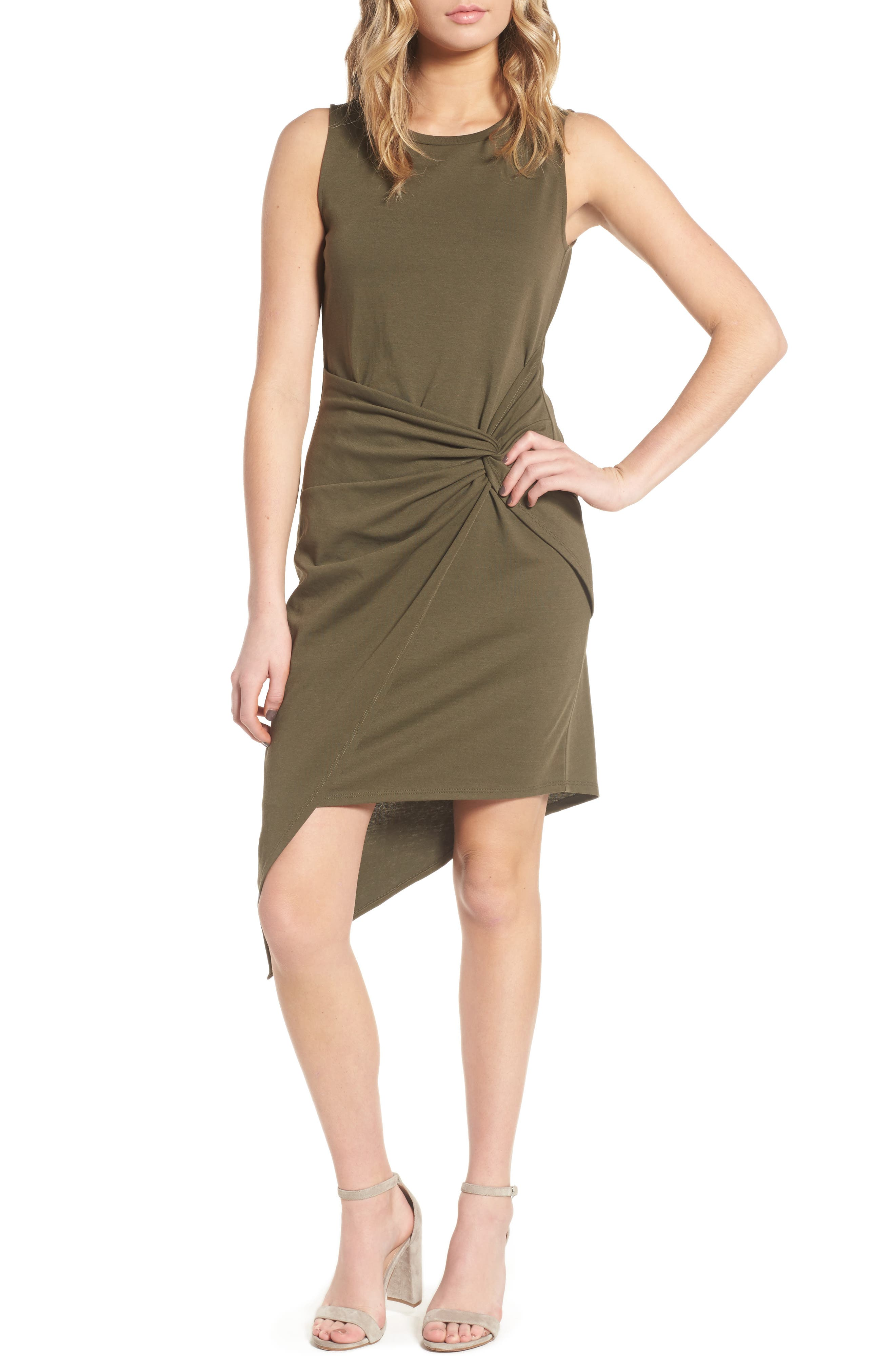 Twist Front Dress,                         Main,                         color, OLIVE SARMA