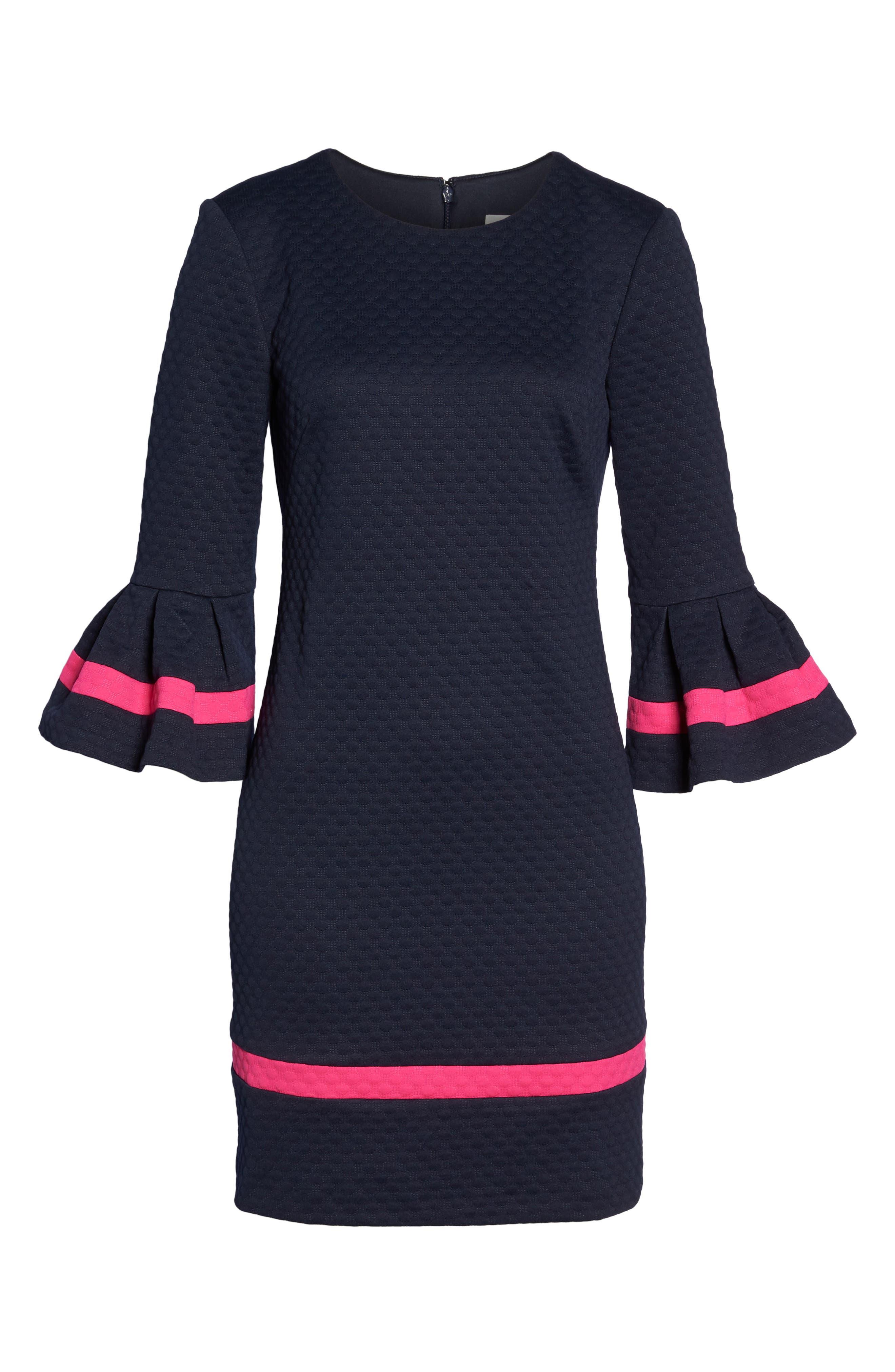 Bell Sleeve Shift Dress,                             Alternate thumbnail 6, color,                             410