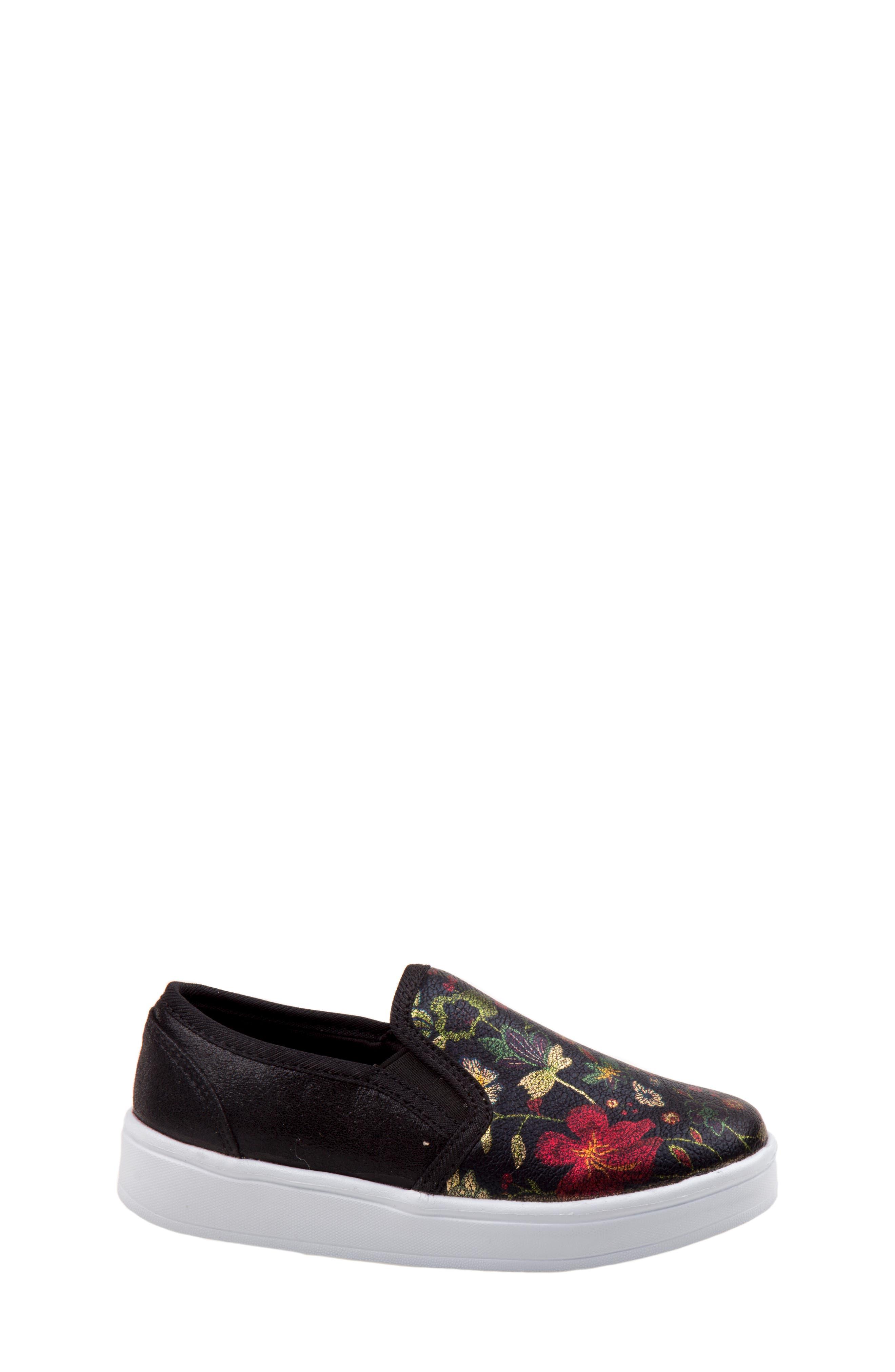 Floral Slip-On Sneaker,                             Alternate thumbnail 2, color,                             BLACK