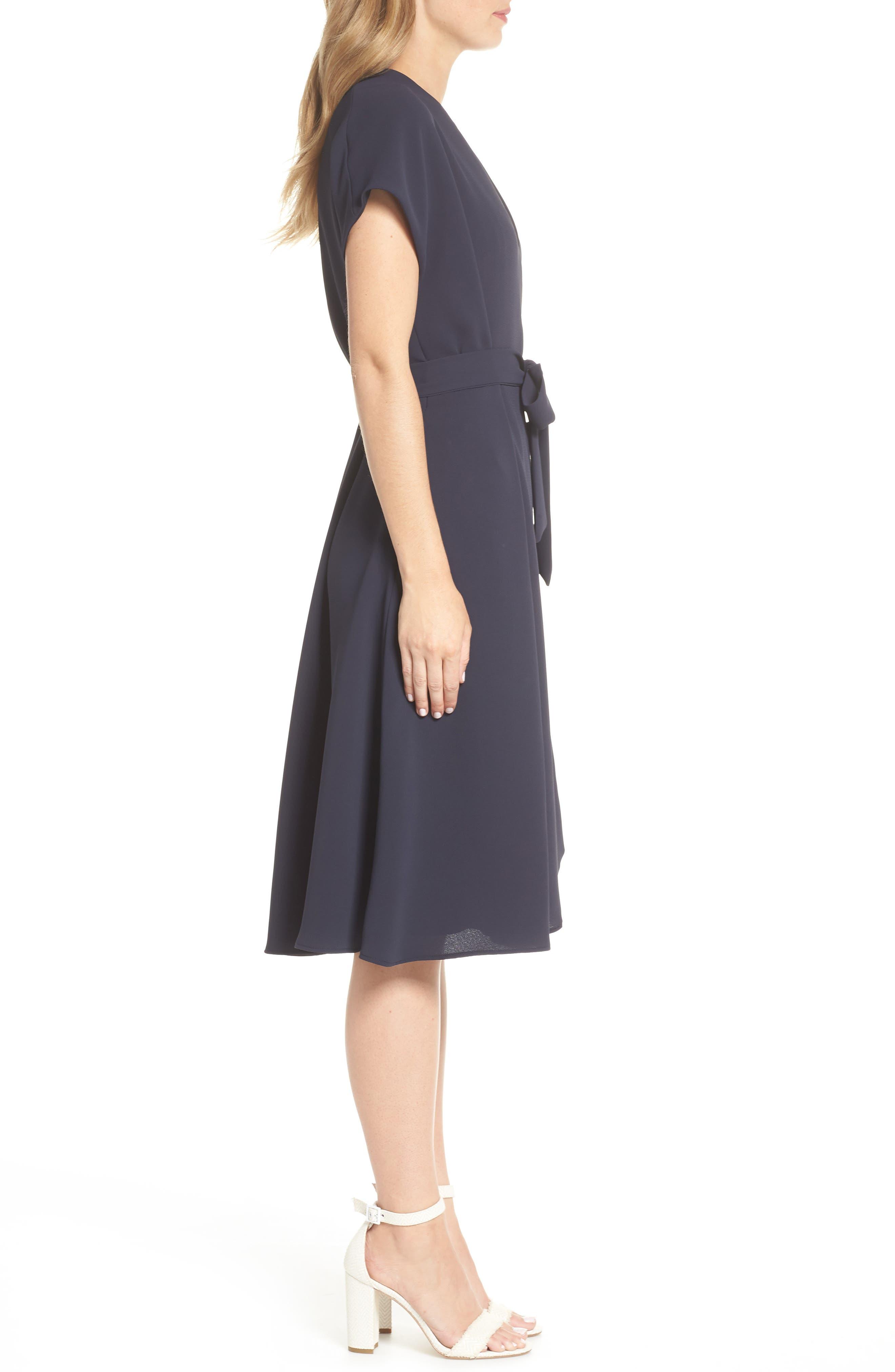 Audrey Wrap Dress,                             Alternate thumbnail 3, color,                             NAVY